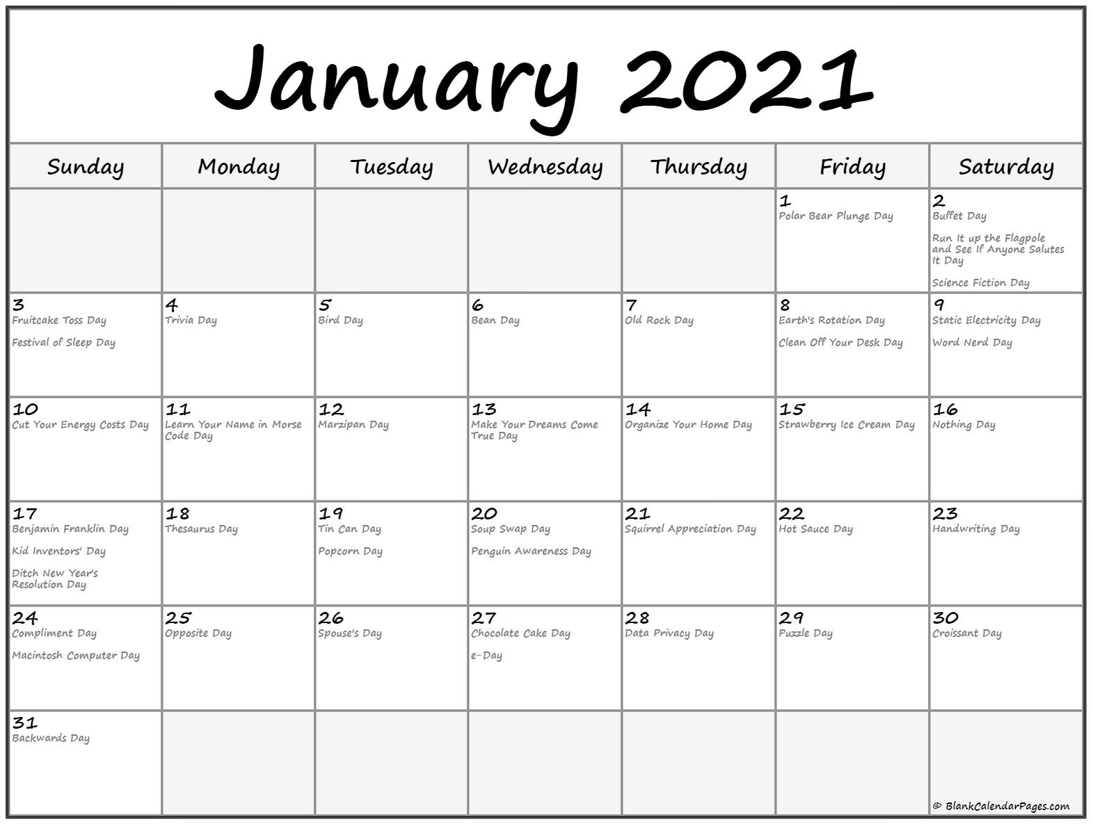January 2021 Calendar With Holidays with regard to Printable National Day Calendar 2021