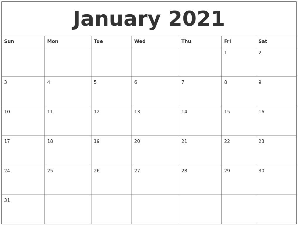 January 2021 Large Printable Calendar throughout 2021 Large Print Calendar Monthly