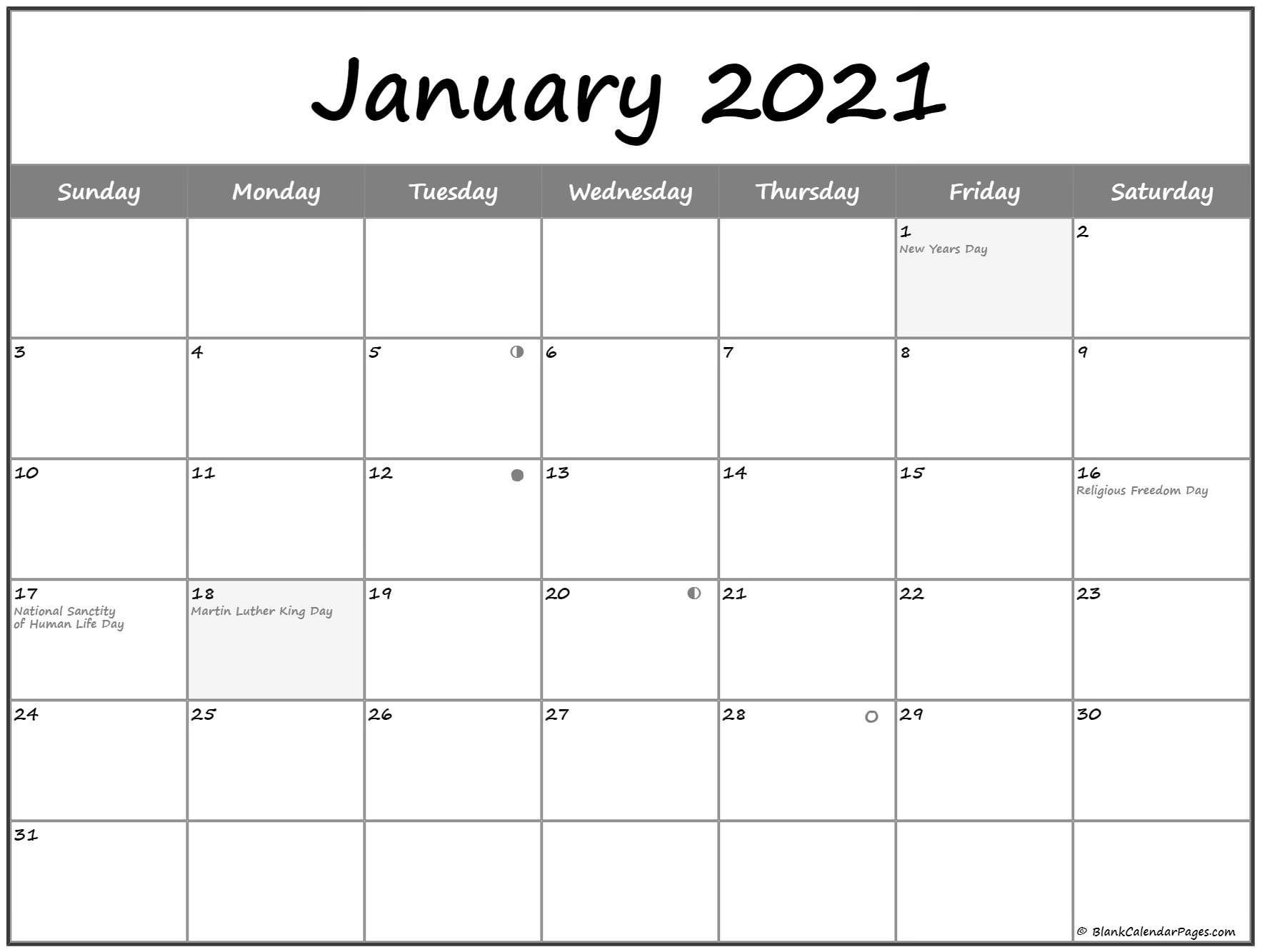 January 2021 Lunar Calendar | Moon Phase Calendar within Printable Yearly Full Moon Calendar For 2021