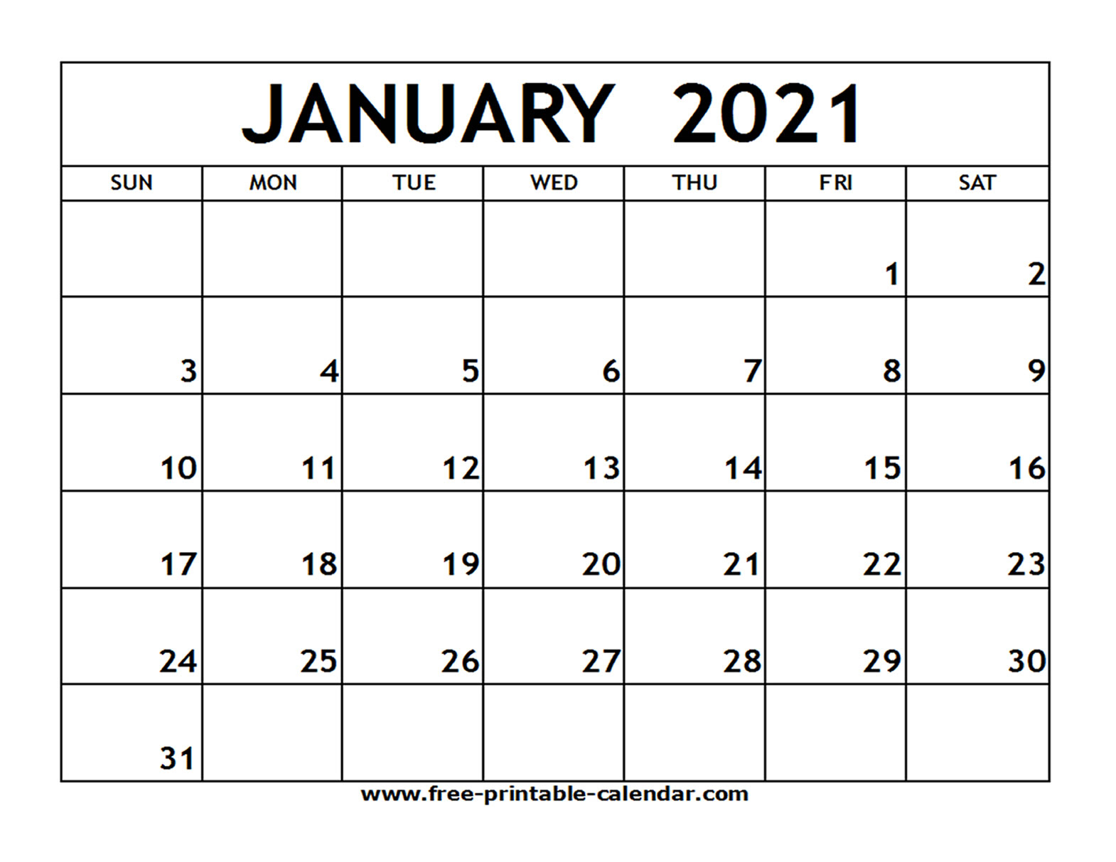 January 2021 Printable Calendar - Free-Printable-Calendar pertaining to 2021 Fill-In Calendar