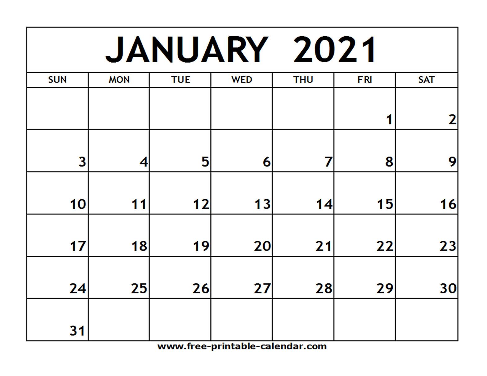 January 2021 Printable Calendar - Free-Printable-Calendar with regard to Printable Fill In Calendar 2021