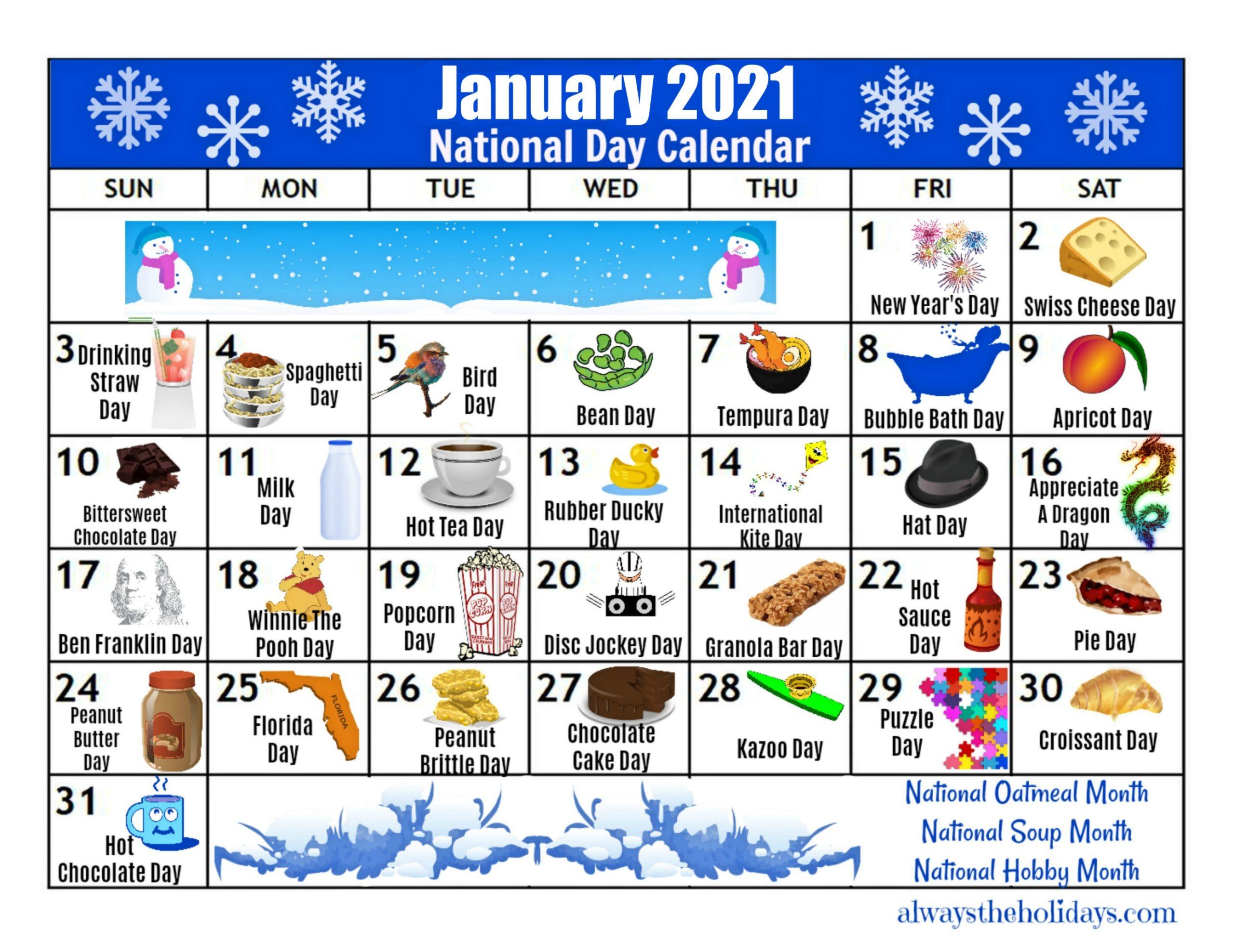 January Printable National Day Calendar 2021 - Free Planning regarding Printable National Day Calendar 2021