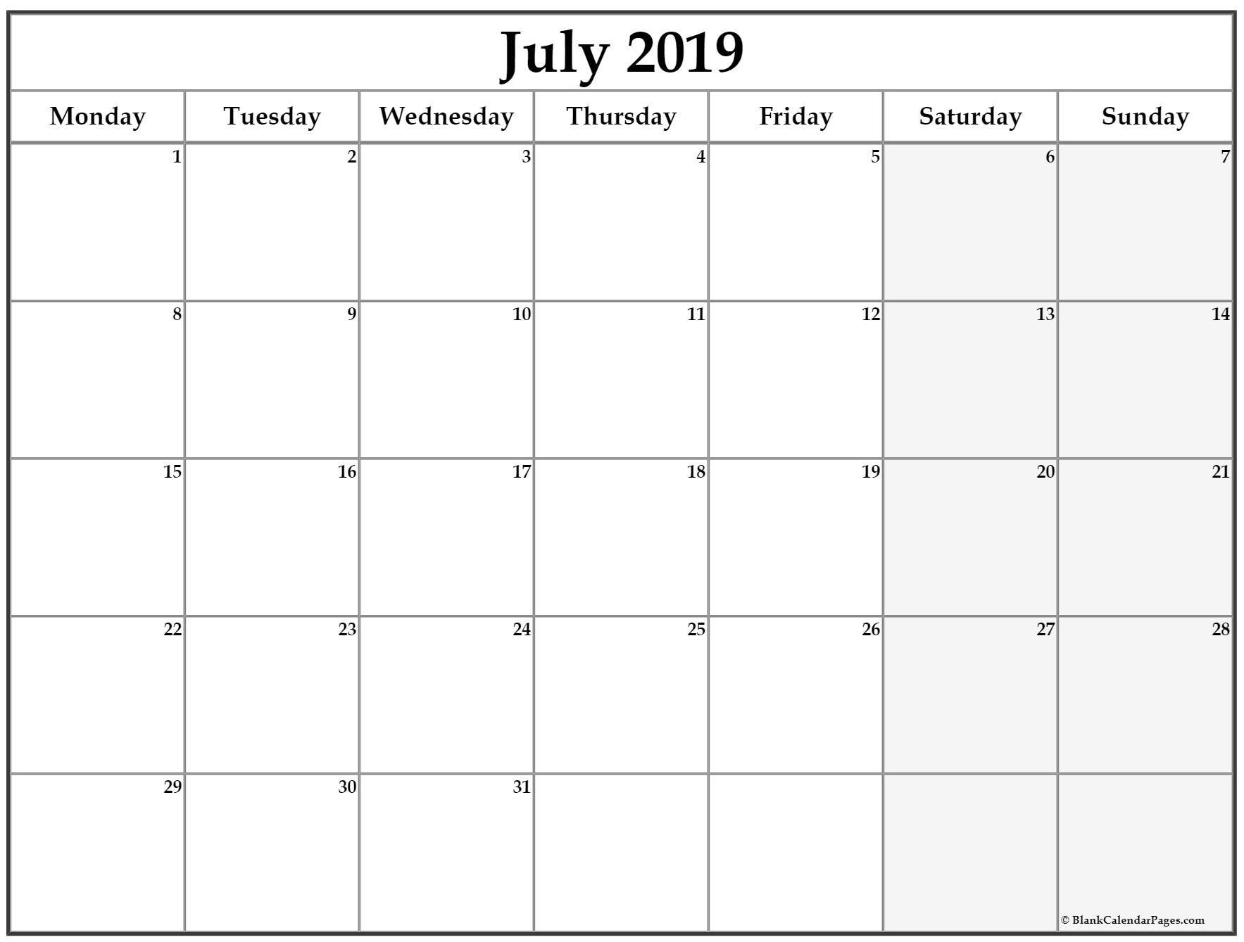 July 2019 Monday Calendar. Monday To Sunday   Calendar pertaining to Monday Through Sunday