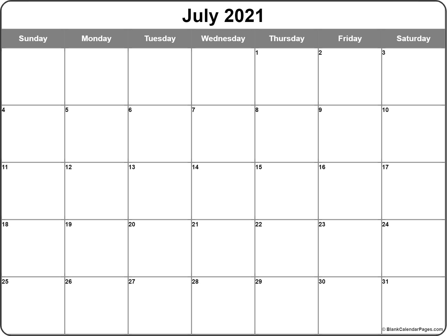 July 2021 Calendar | Free Printable Monthly Calendars for 2021 Fill-In Calendar
