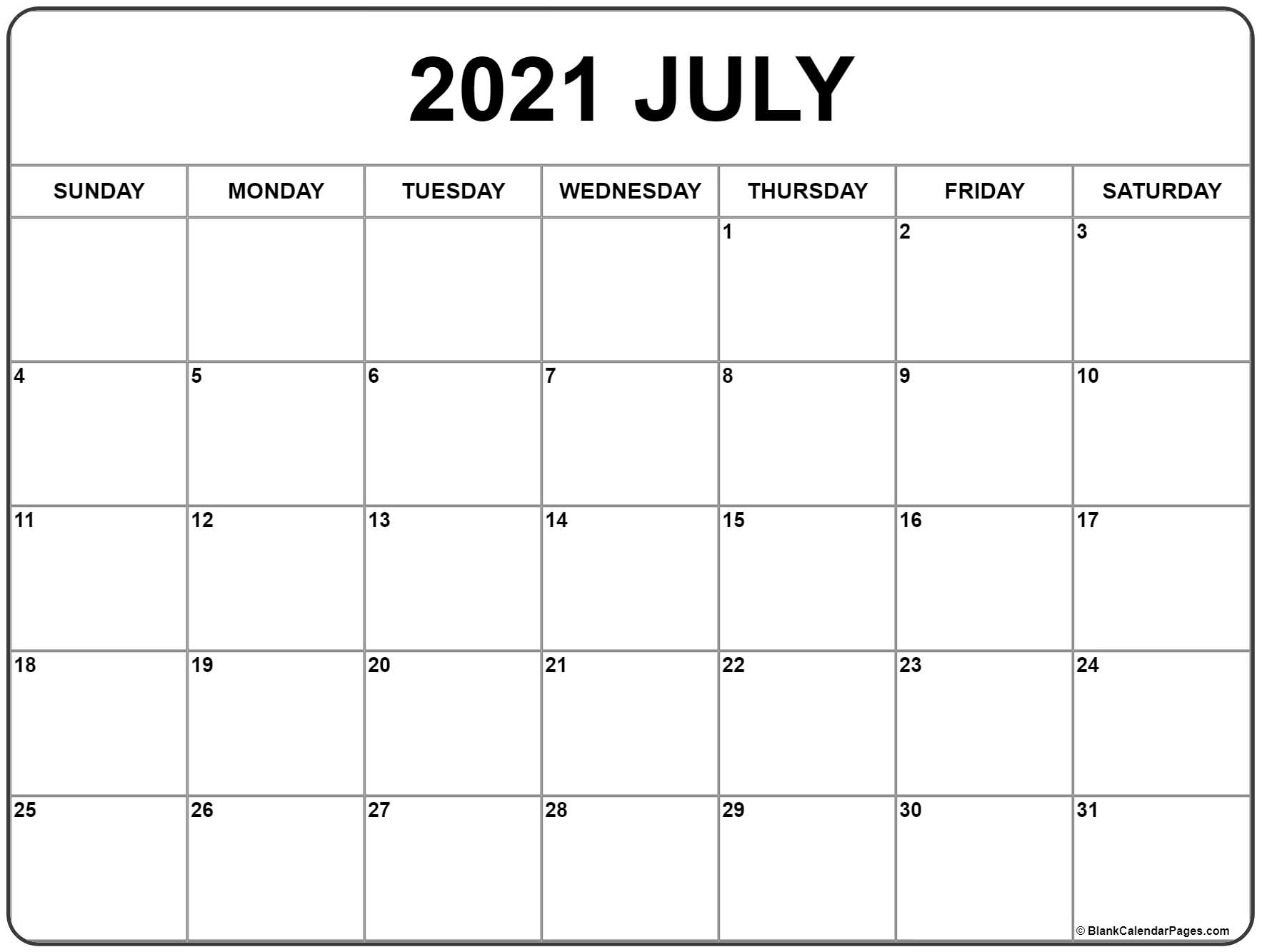 July 2021 Calendar | Free Printable Monthly Calendars throughout Fill In 2021 Calendar Pages Blank