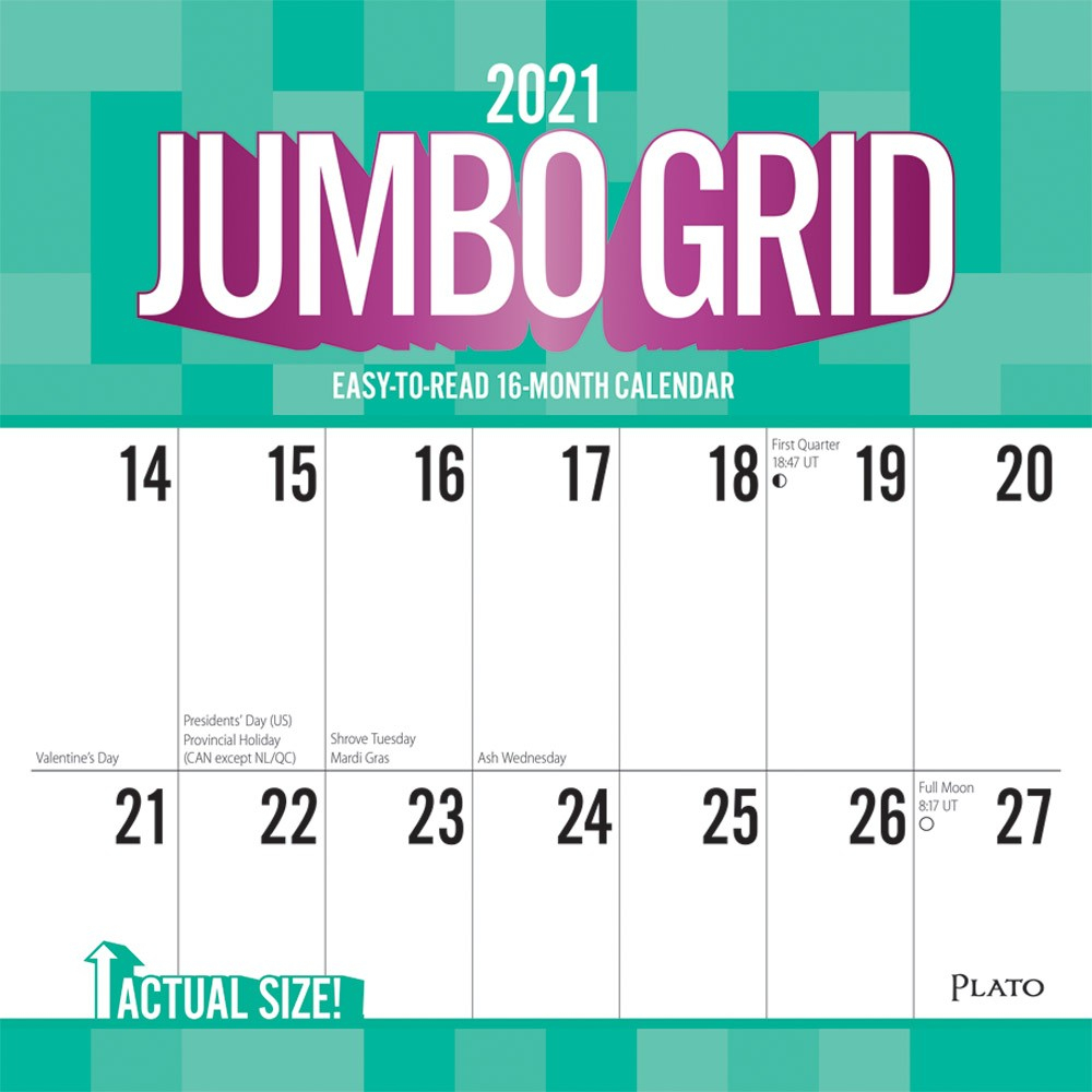 Jumbo Grid Large Print 2021 12 X 12 Inch Monthly Square Wall with regard to 2021 Large Print Calendar Monthly