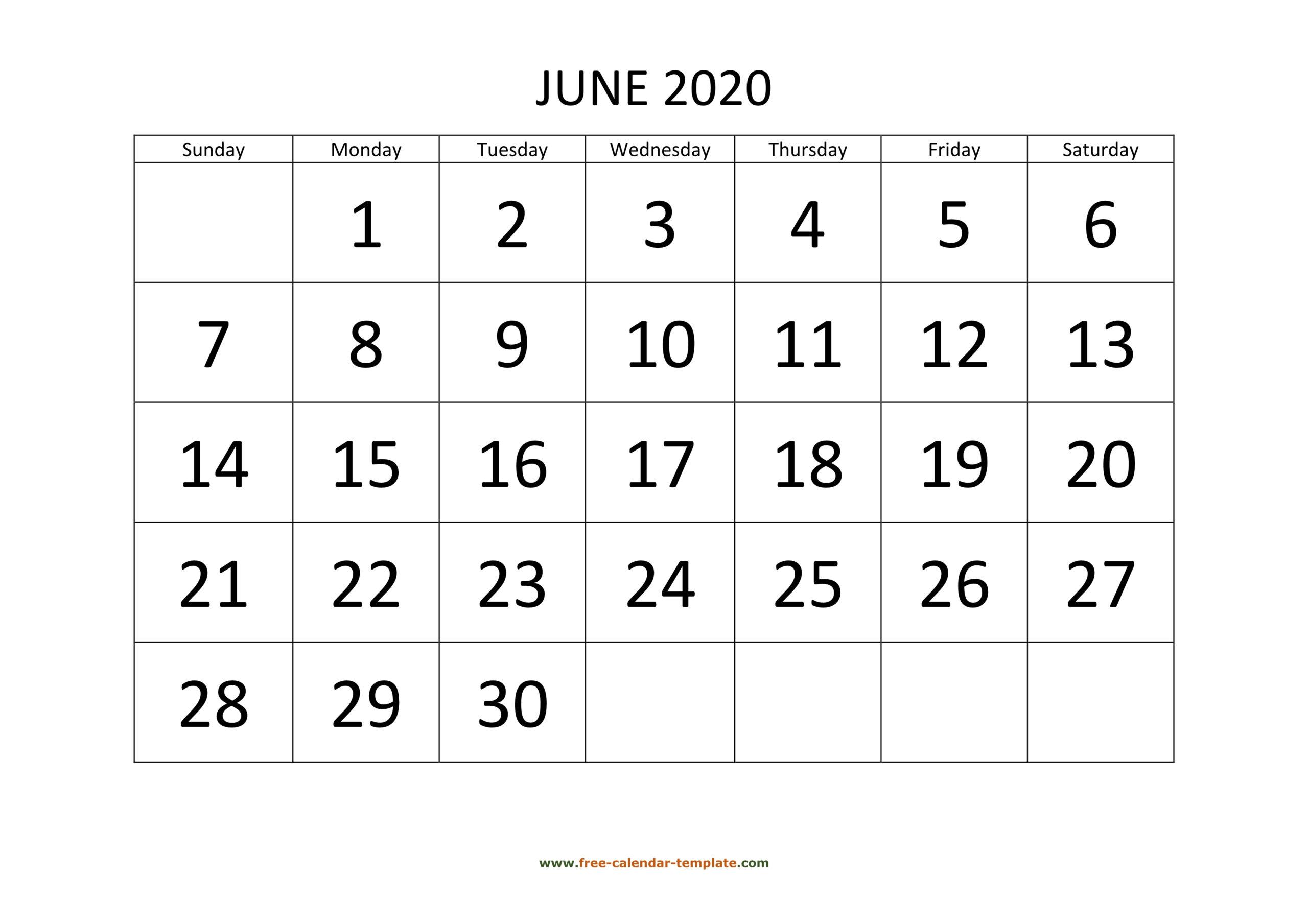 June 2020 Calendar Designed With Large Font (Horizontal pertaining to Large Number Calendar