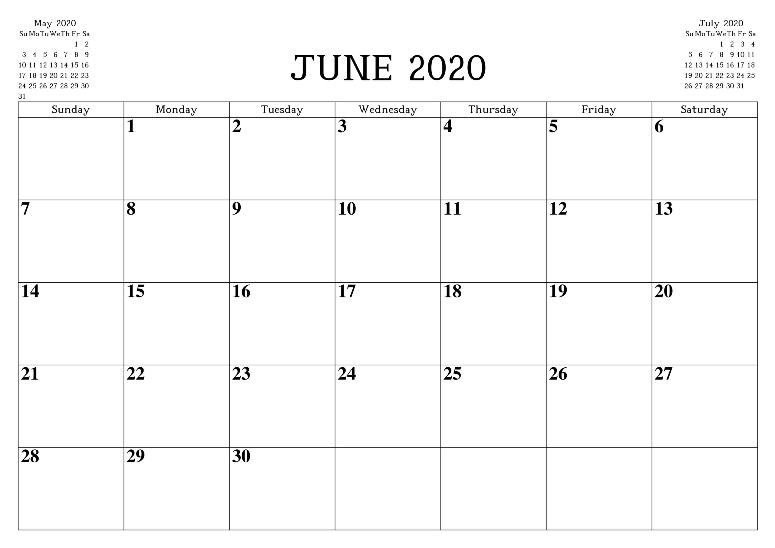 June 2020 Printable Calendar Free Waterproof - Free in Waterproof Calendar 2021