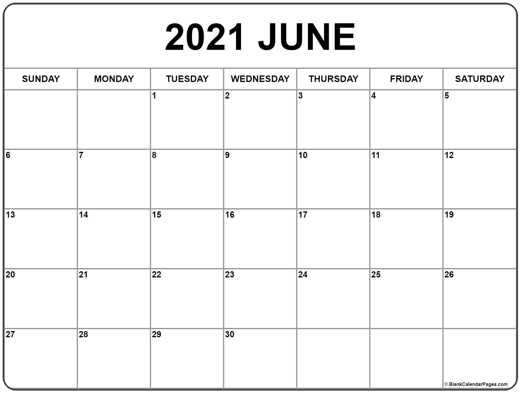 June 2021 Calendar | Free Printable Monthly Calendars regarding Free Printable Pocket Calendar 2021