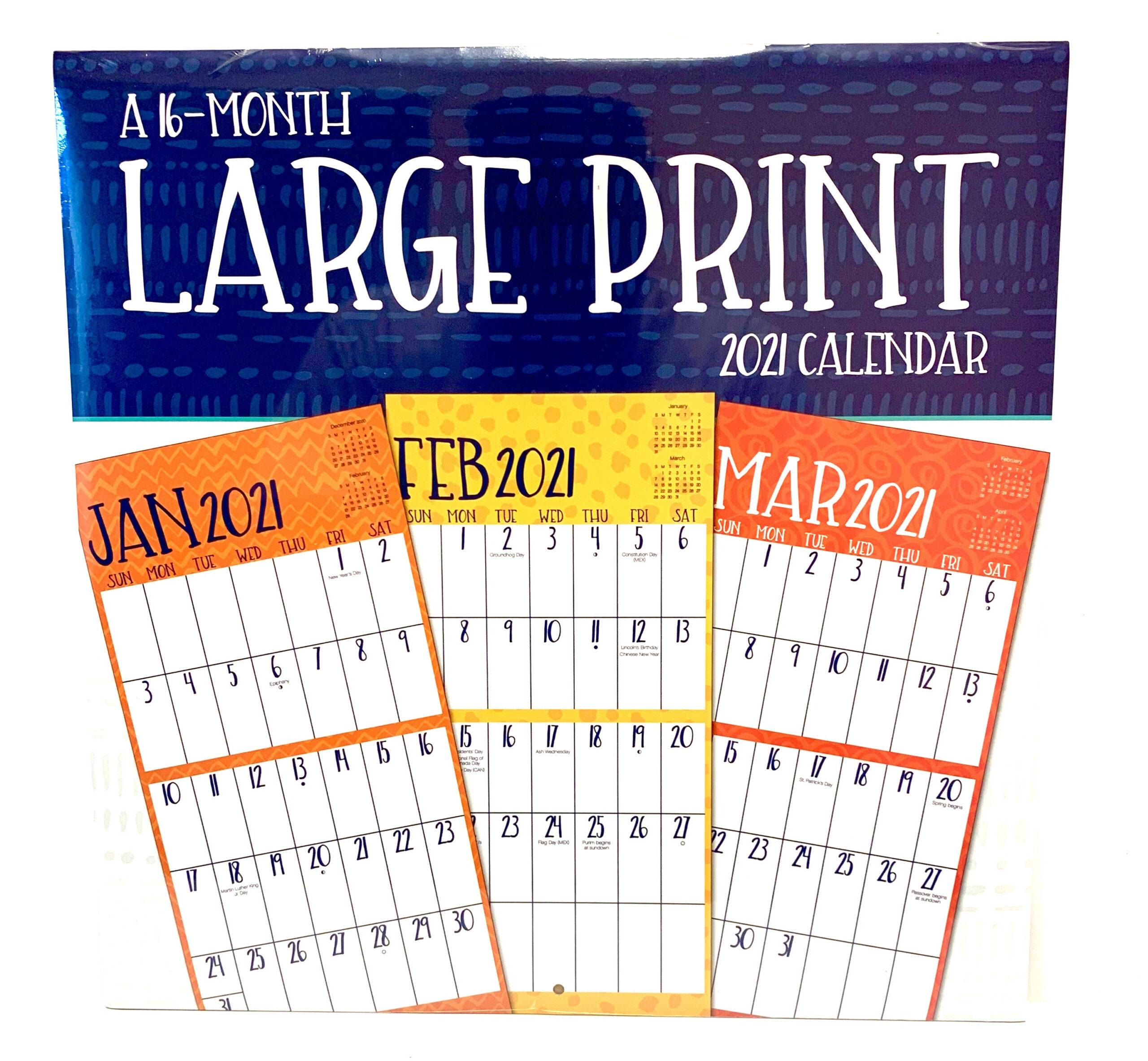 "Large Print 12"" X 24"" 16 Month 2021 Wall Calendar - Walmart for 2021 Large Print Calendar Monthly"