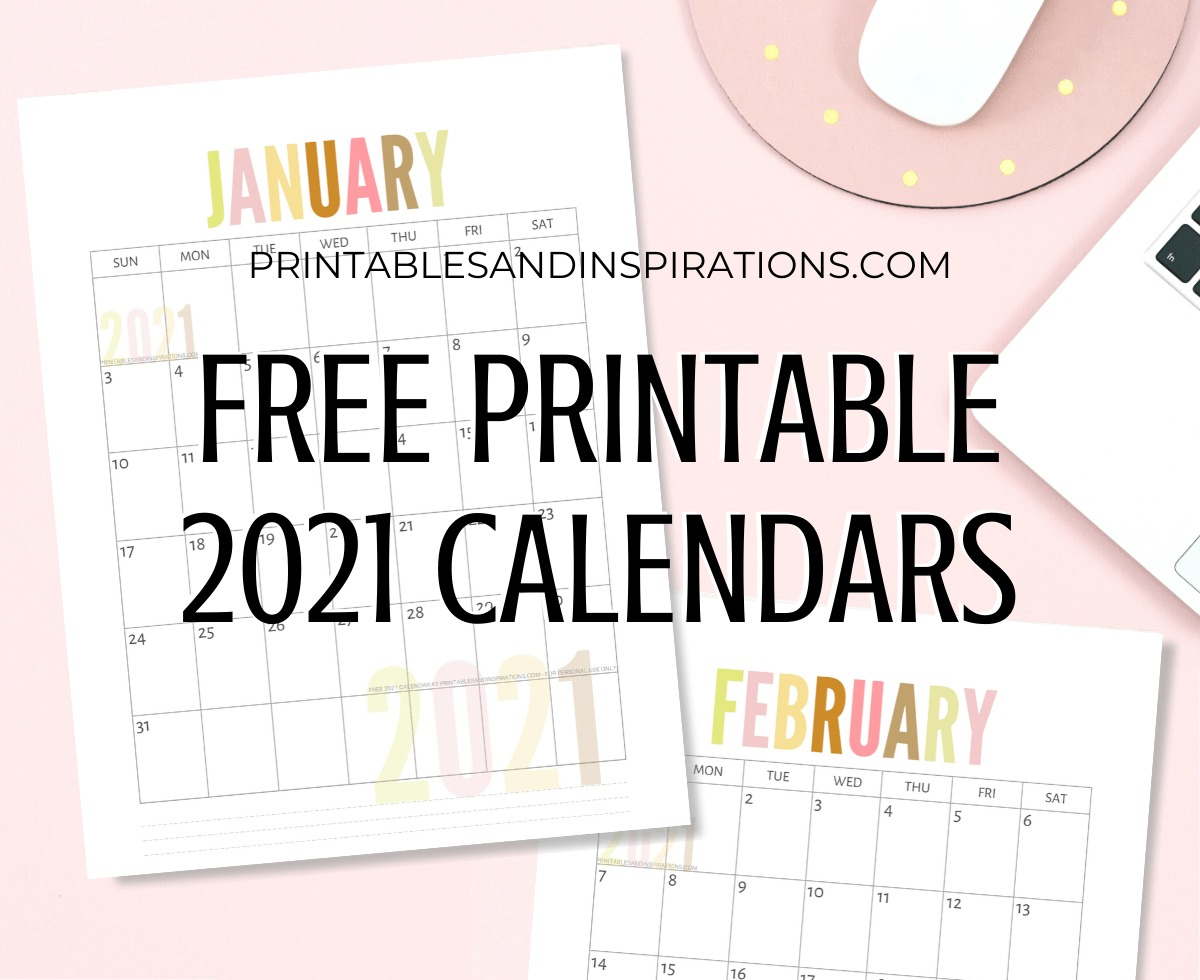 List Of Free Printable 2021 Calendar Pdf - Printables And for Print Free Calendars Without Downloading 2021