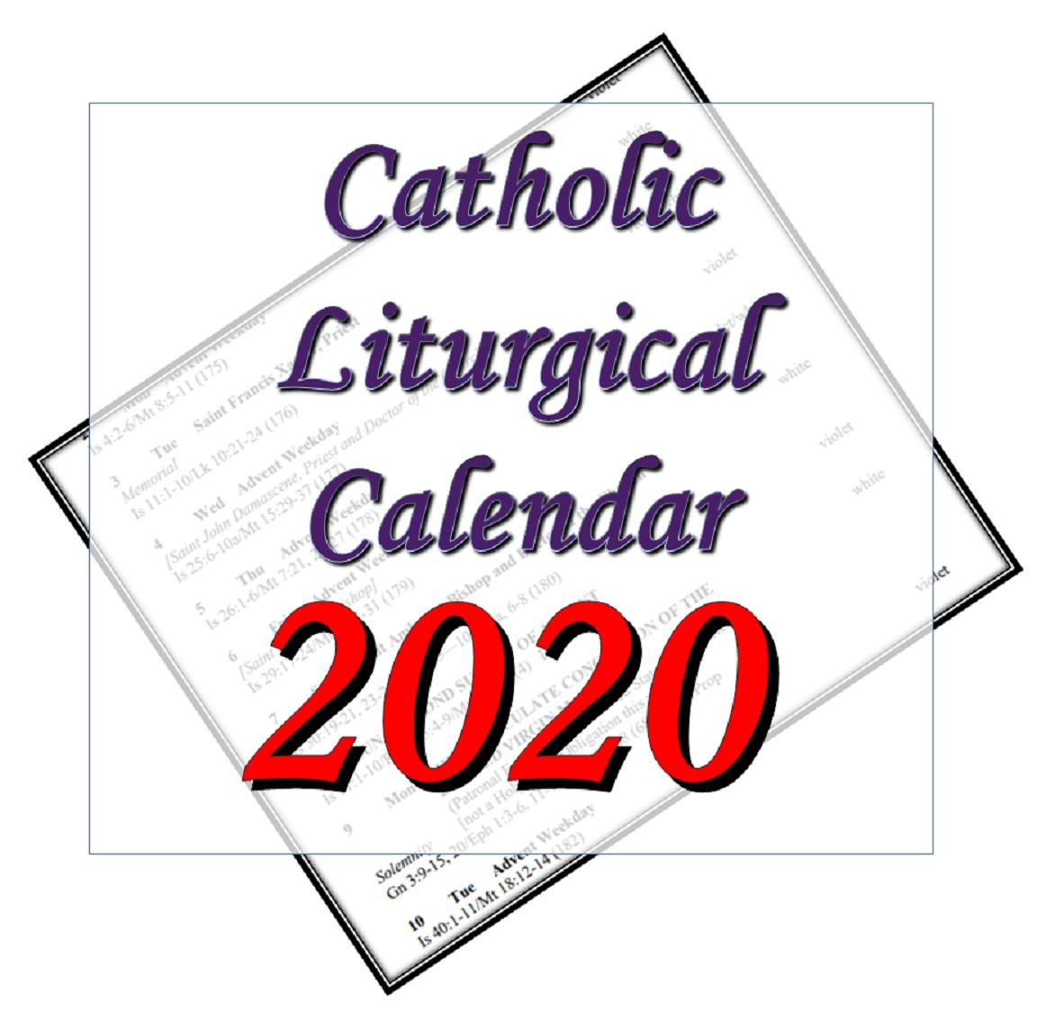Liturgytools: Catholic Liturgical Calendars For 2020 within Catholic Liturgical Calender Year C: