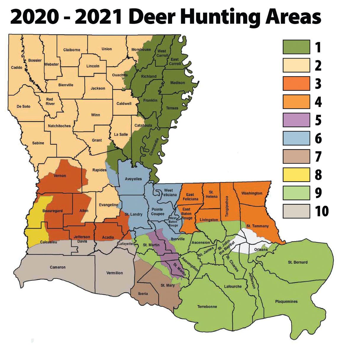 Louisiana'S 2020 Rut Report - Louisiana Sportsman with Deer Rut Map