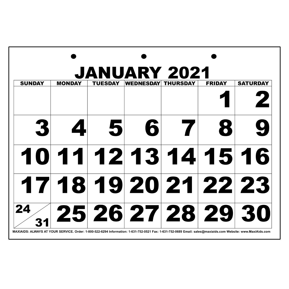 Low Vision Print Calendar - 2021 for Large Bold Printable Calendar