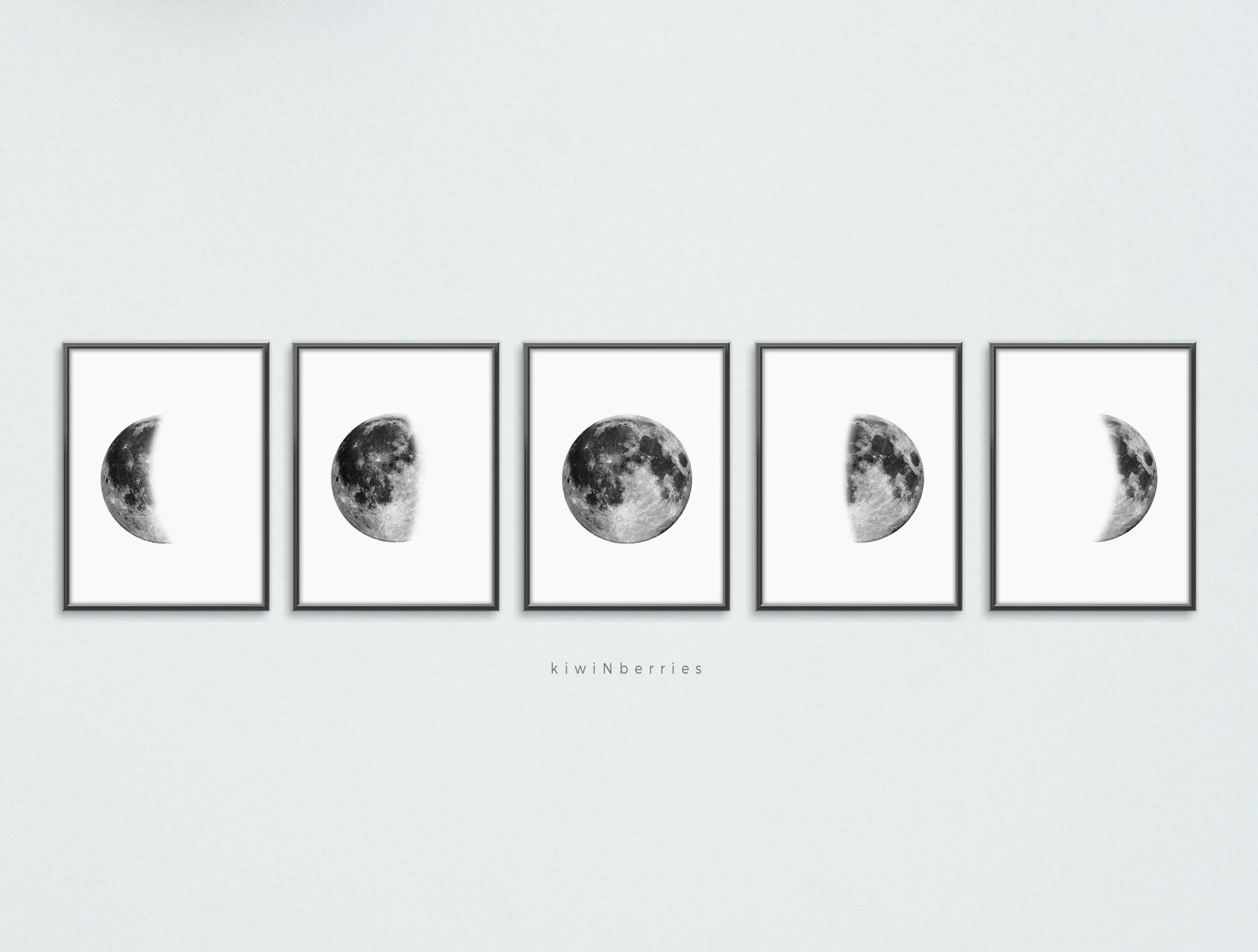 Lunar Phases Print, Set Of 5 Moon Phases, Printable Moon within Phases Moon Printable