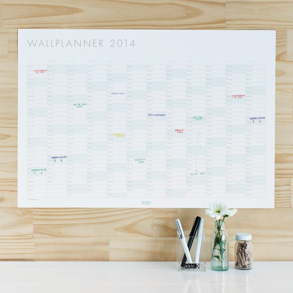 Make 2014 Your Year With This Stylish Wall Planner. | Wall with Wall Calendar Kikki K