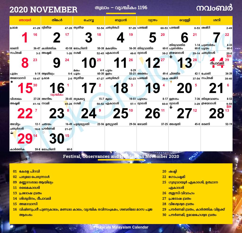 Malayalam Calendar 2020, November pertaining to Calendar 2021 November Fill In
