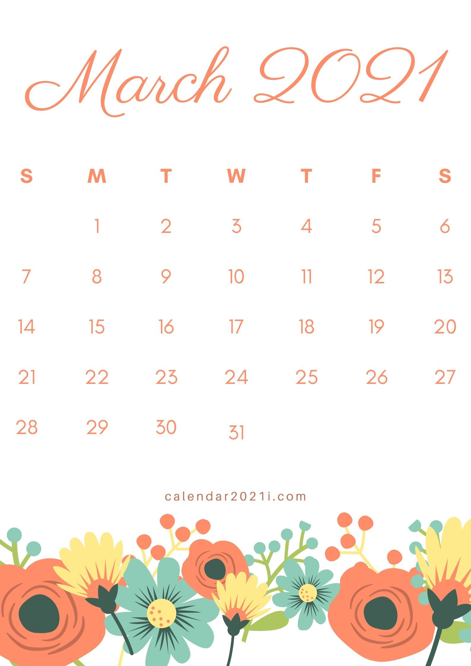 March 2021 Floral Calendar Printable Design Diy Template in Tropical Floral: Calendar 2021 Monthly