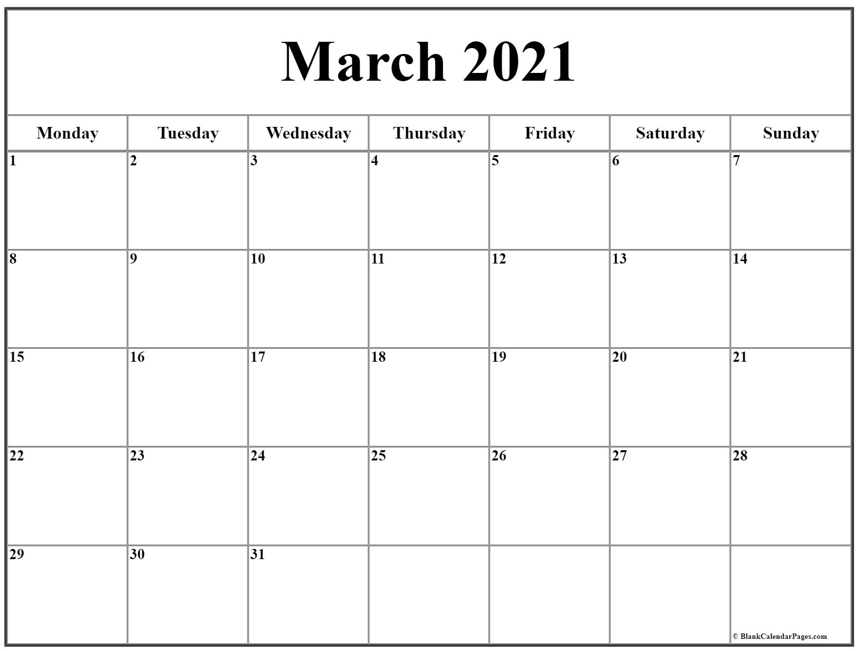 March 2021 Monday Calendar | Monday To Sunday within Saturday Calendar 2021