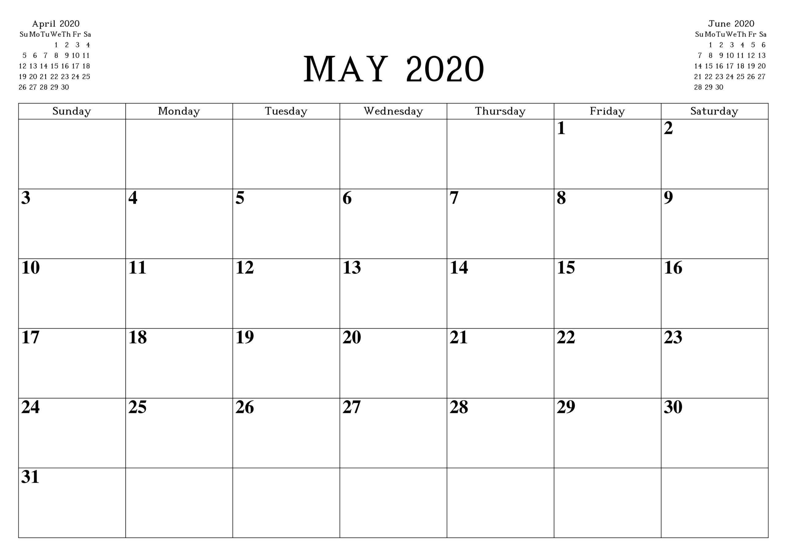 May 2020 Calendar Printable Word Pdf Waterproof - Free for Waterproof Calendar 2021