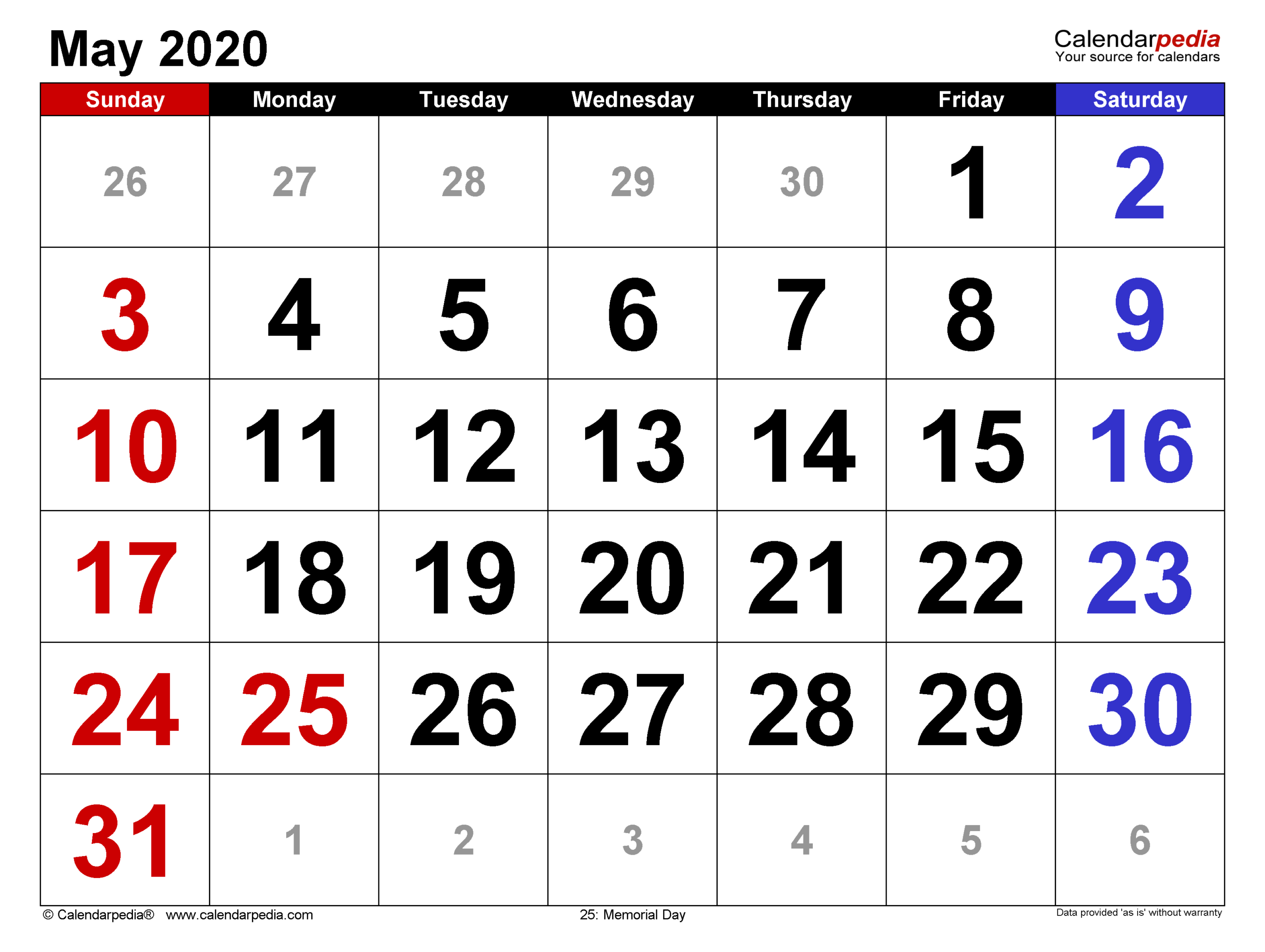 May 2020 Calendar | Templates For Word, Excel And Pdf pertaining to Large Number Calendar
