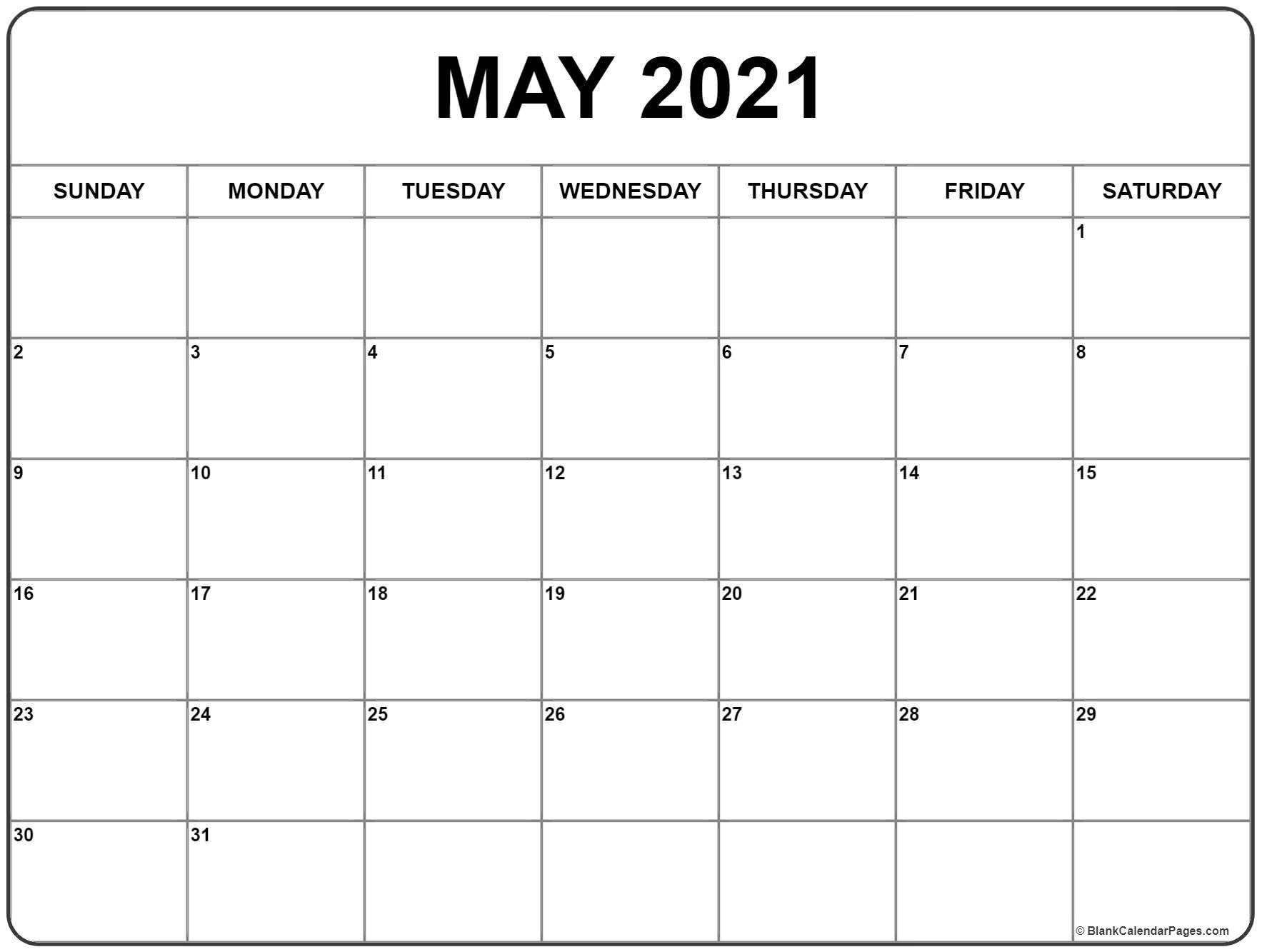 May 2021 Calendar | Free Printable Monthly Calendars pertaining to Monthly Fill In Printable Calendar 2021