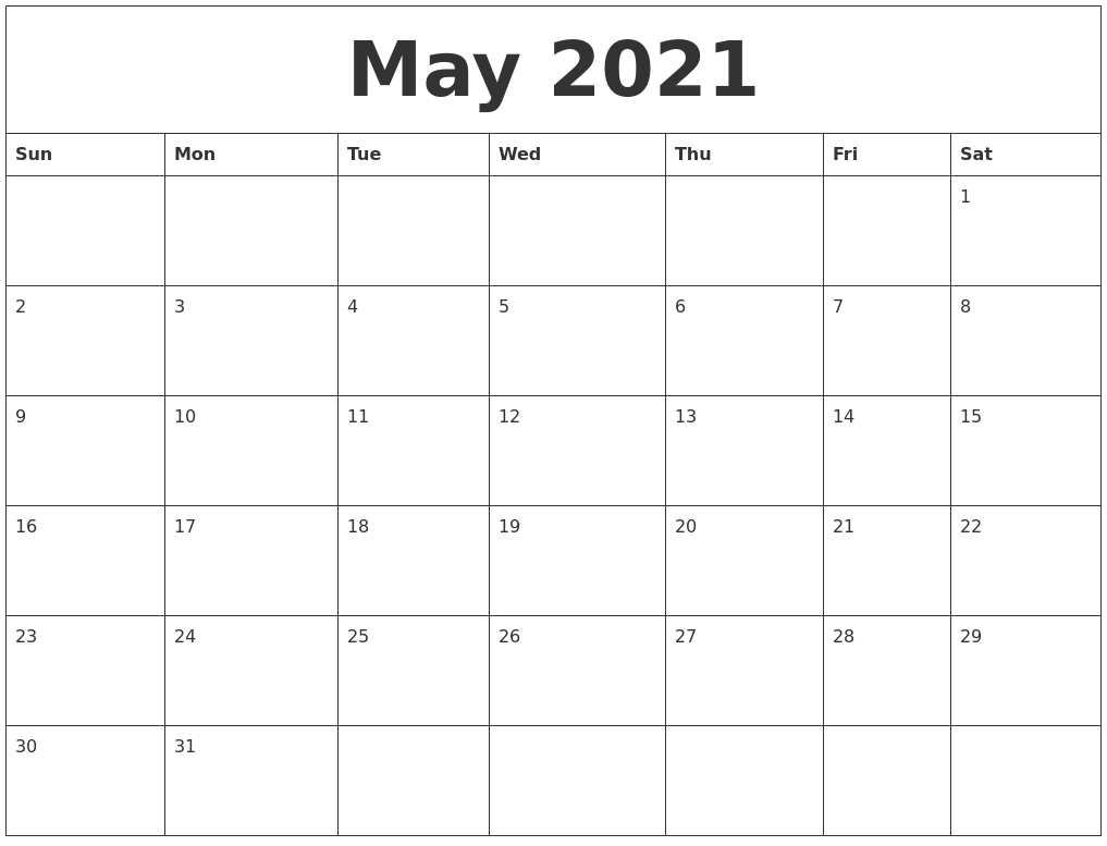 May 2021 Calendar in Printable Blank Fill In Monthly Calendar 2021