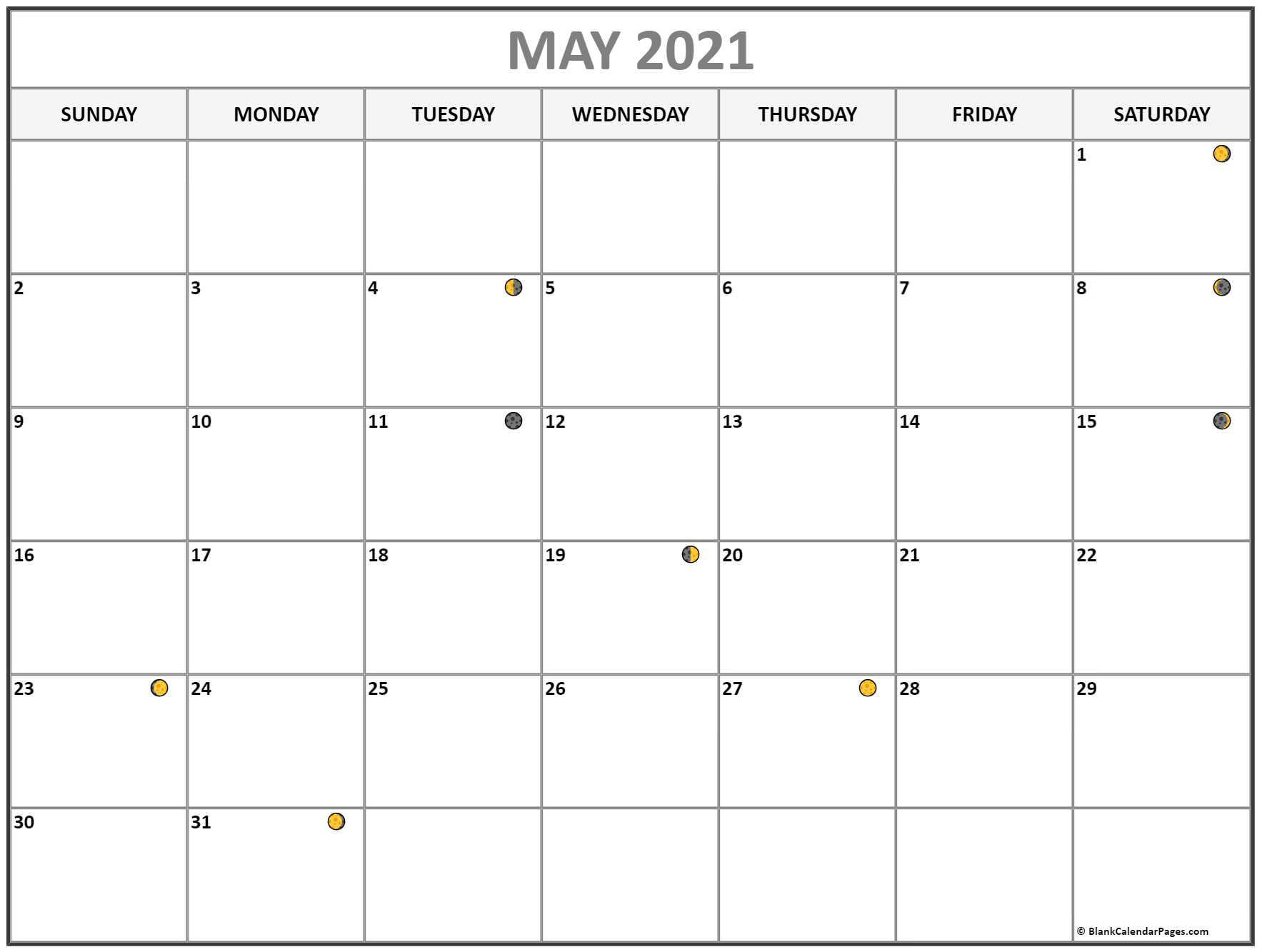 May 2021 Lunar Calendar | Moon Phase Calendar within Printable Yearly Full Moon Calendar For 2021