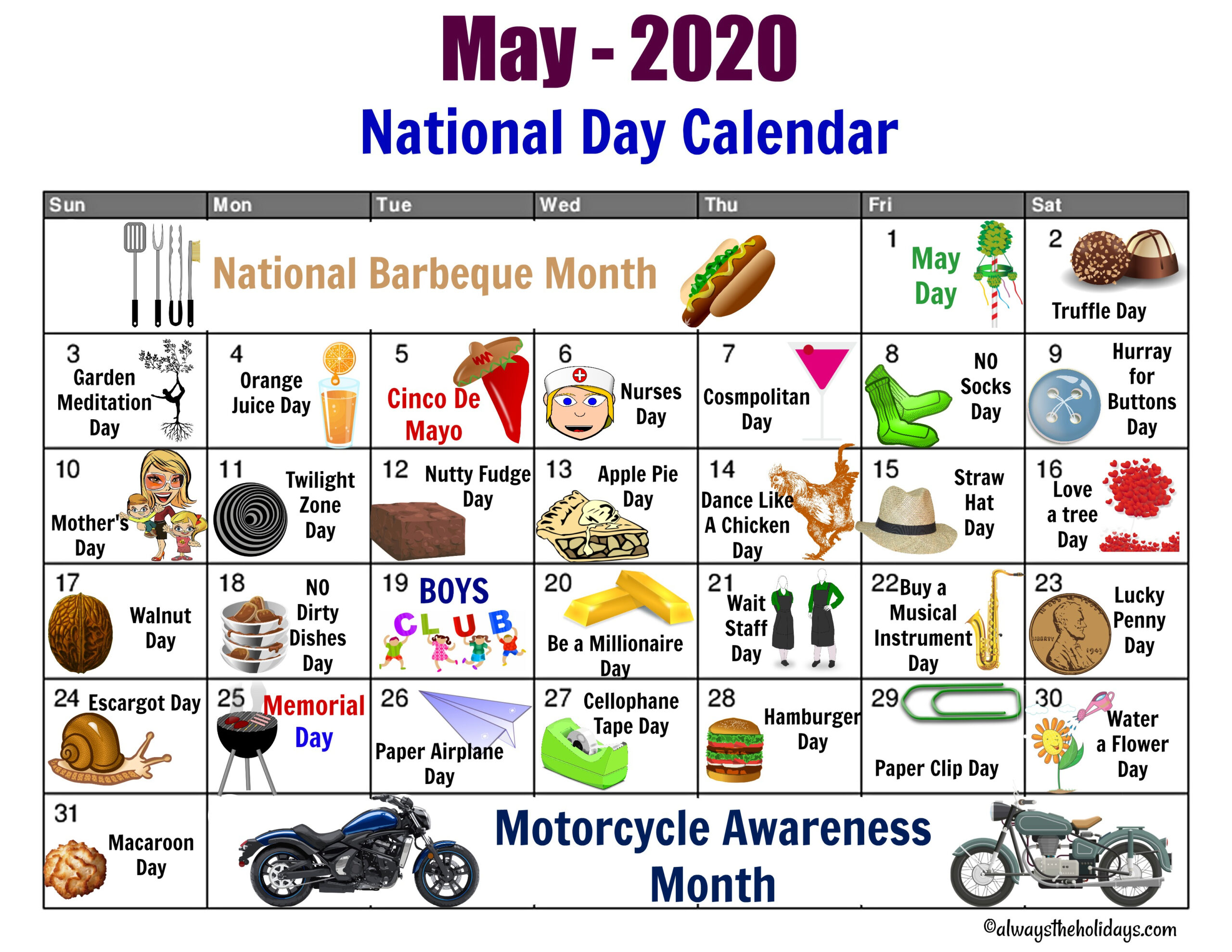 May National Day Calendar - Free Printable - Always The Holidays within Printable National Day Calendar 2021