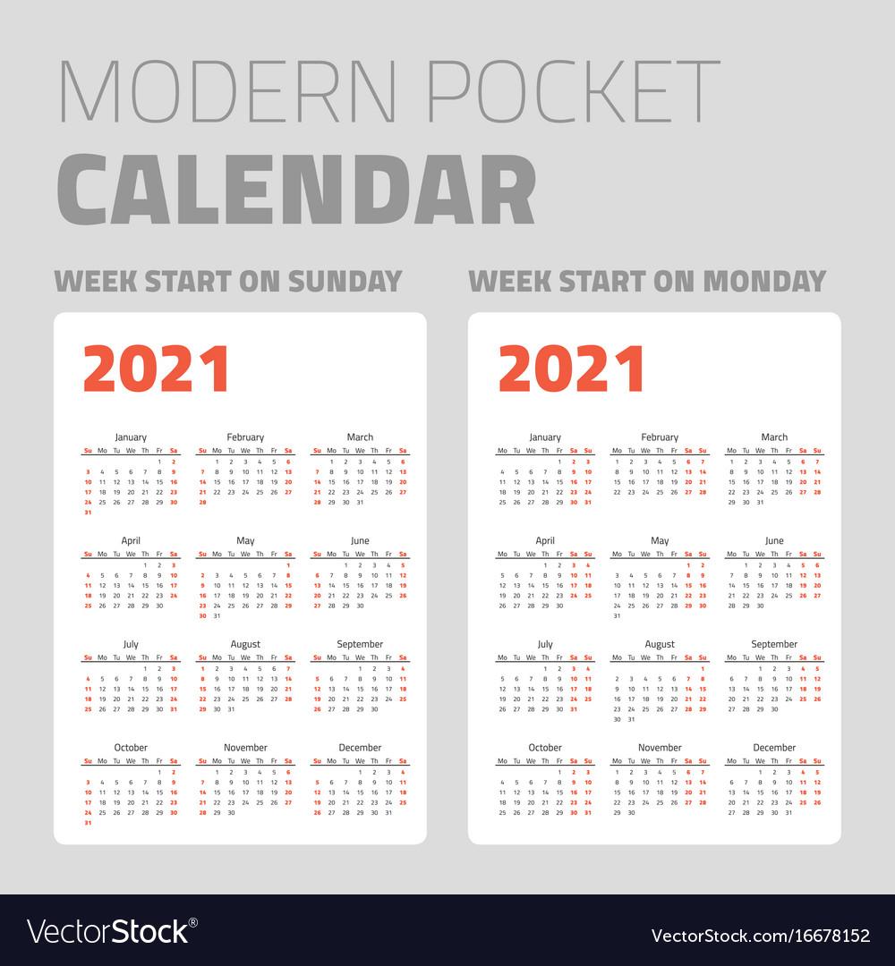 Modern Pocket Calendar Set 2021 Royalty Free Vector Image inside Pocket Calendars 2021