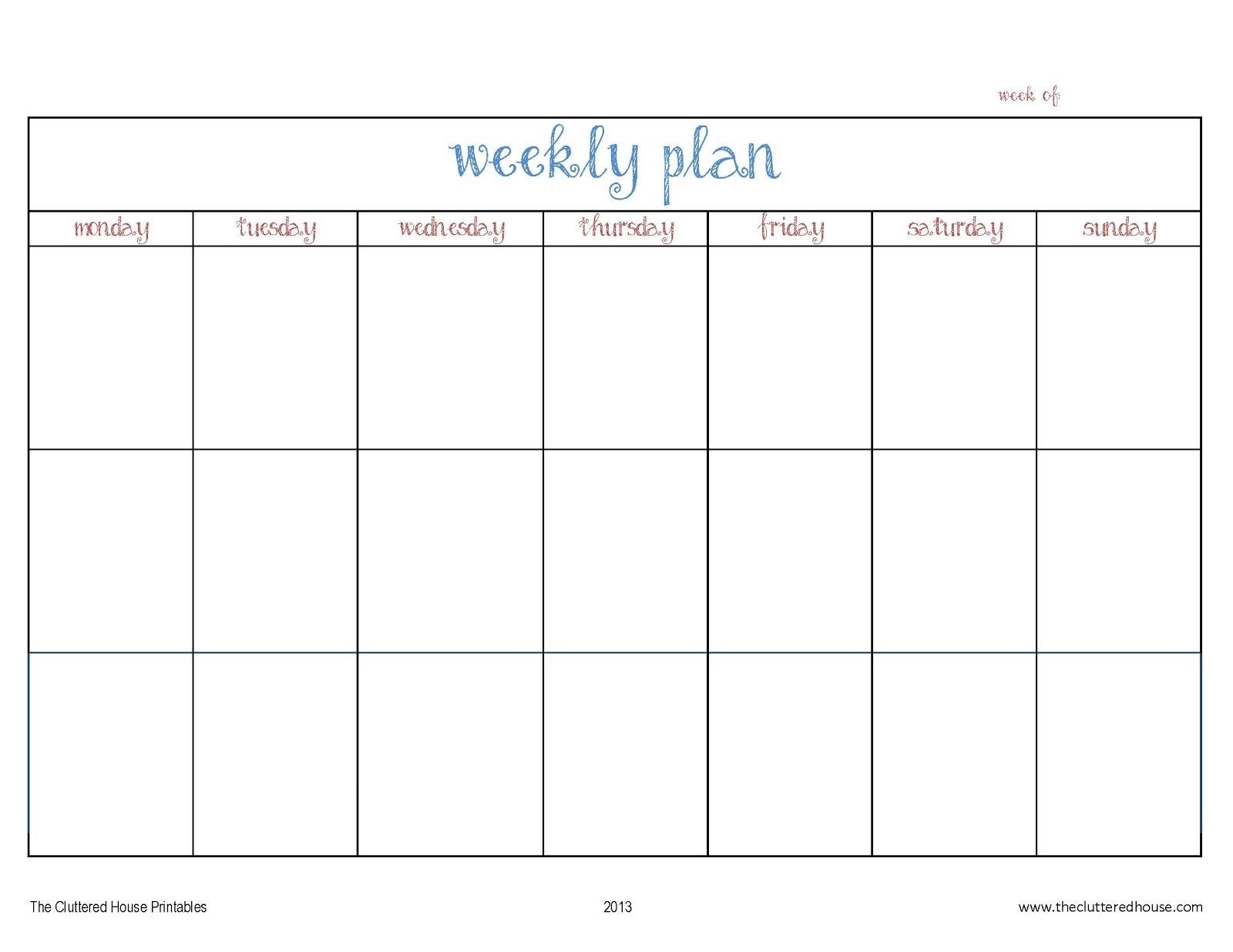 Monday To Friday Planner Template   Calendar For Planning regarding Monday Through Sunday