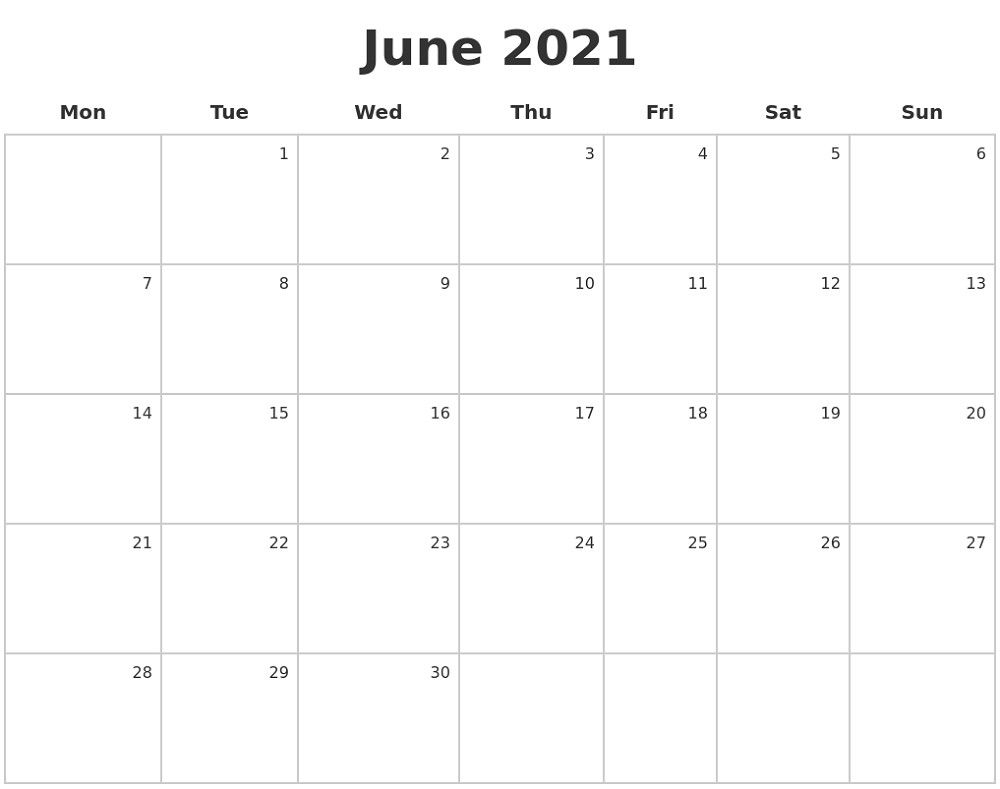 Monday To Sunday Calendar 2021 Full Months – Pleasant For throughout 2021 Fillable Calendar Free Printable