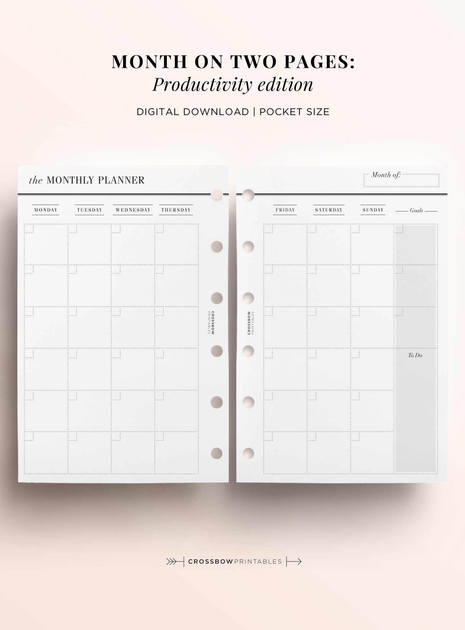 Month On Two Pages Productivity Edition: Printable Pocket Size Calendar throughout Free Printable Small Pocket Calendars