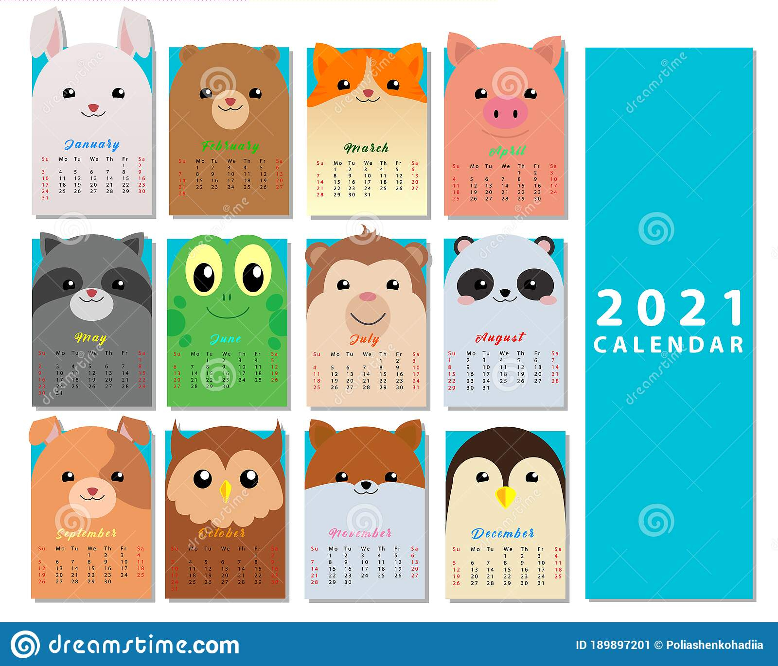 Monthly Calendar 2021 From Sunday To Saturday. Stock Vector with regard to Sunday To Saturday Calendar