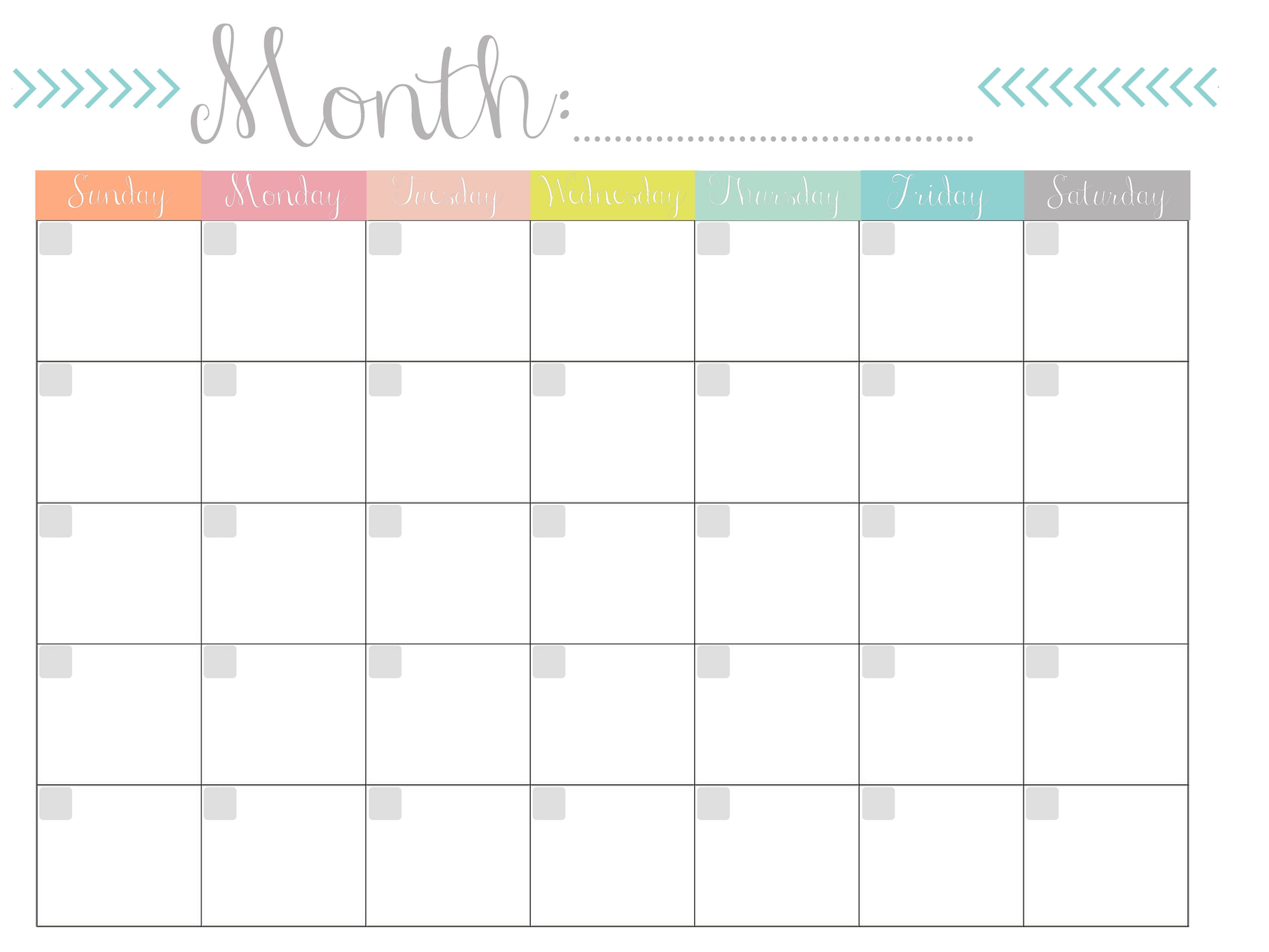 Monthly Calendar {Free Printable} within 8.5 X 11 Printable Calendars