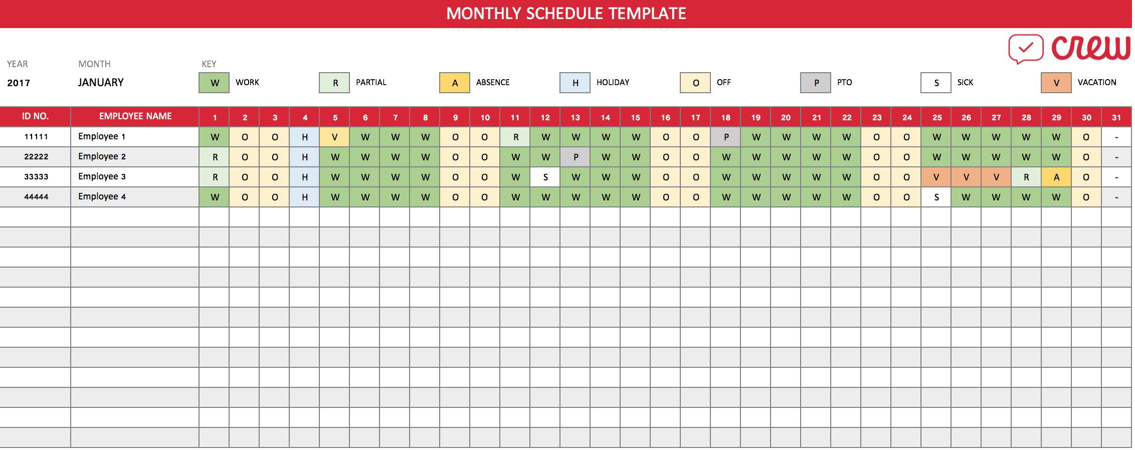 Monthly Employee Shift Schedule Template ~ Addictionary with Fre Shift Calenders