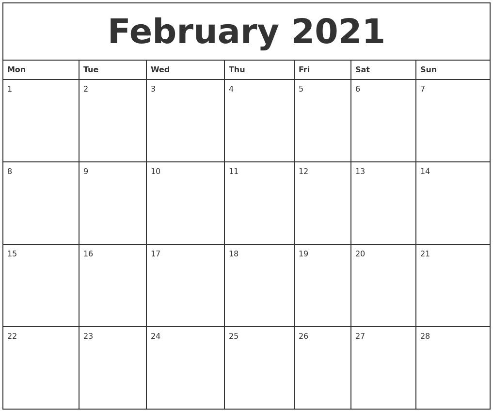 Monthly Planner 2021 Printable Full – Welcome To Our Website regarding Printable Blank Fill In Monthly Calendar 2021