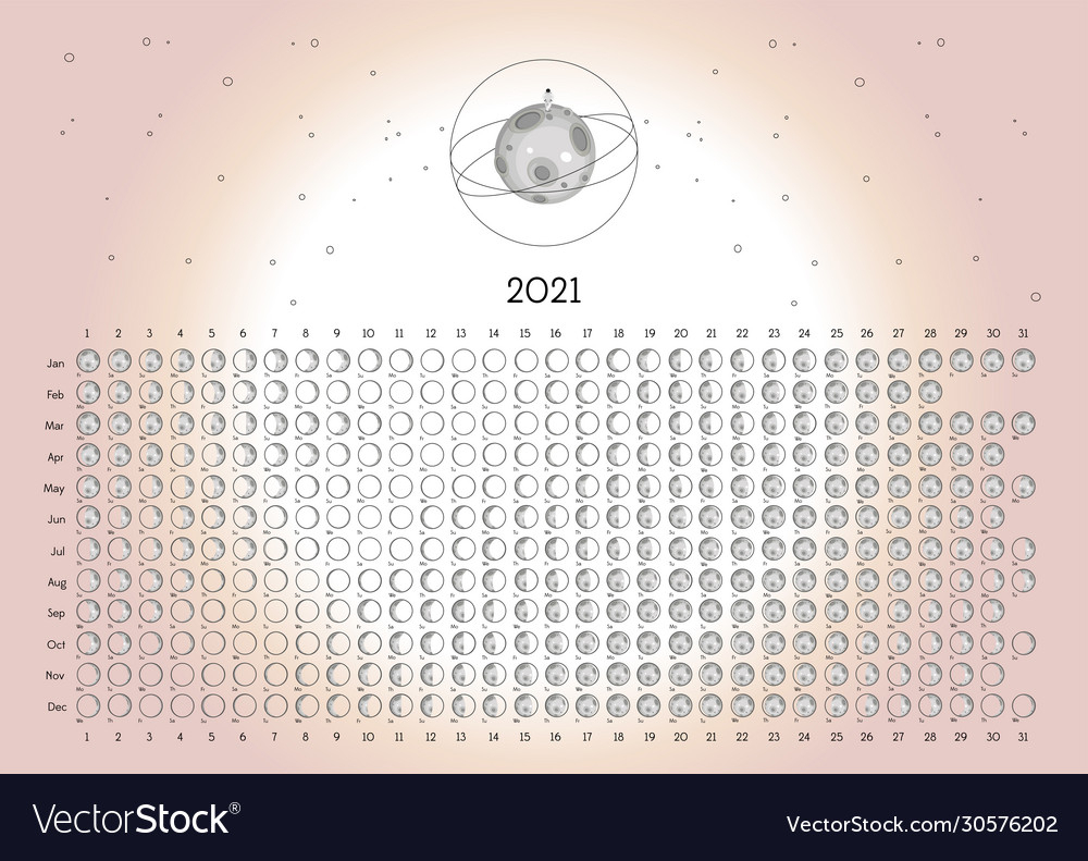 Moon Calendar 2021 Southern Hemisphere Pink Vector Image for Printable Yearly Full Moon Calendar For 2021
