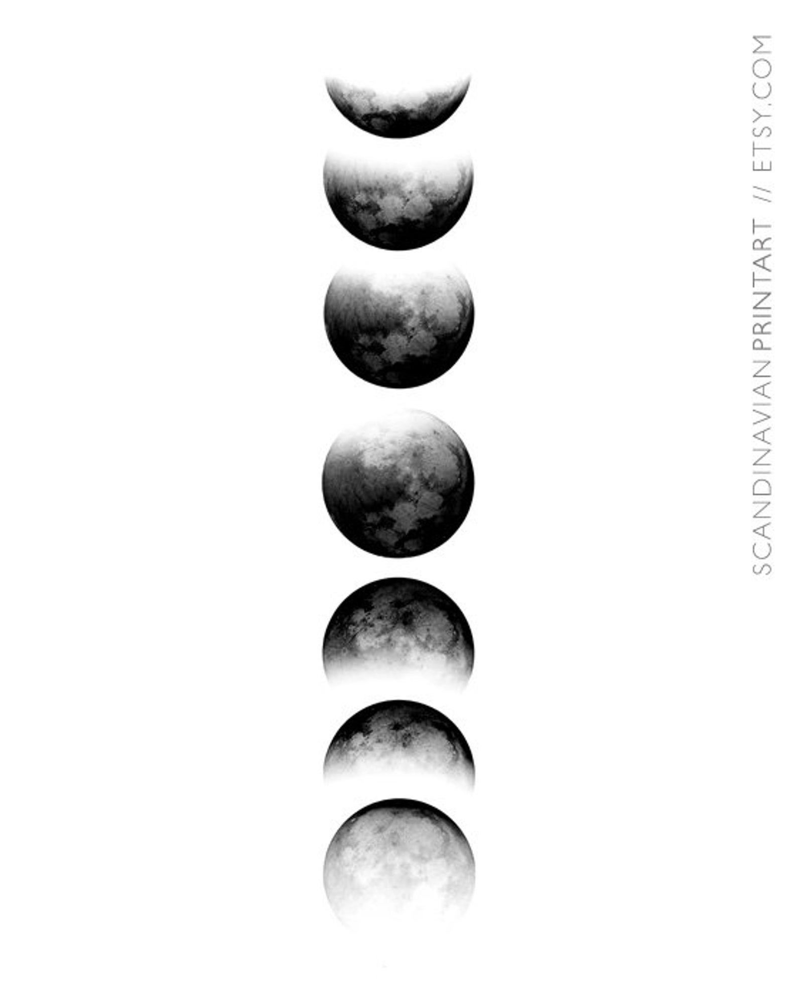 Moon Phase Print Moon Print Moon Phase Moon Design Moon inside Phases Moon Printable