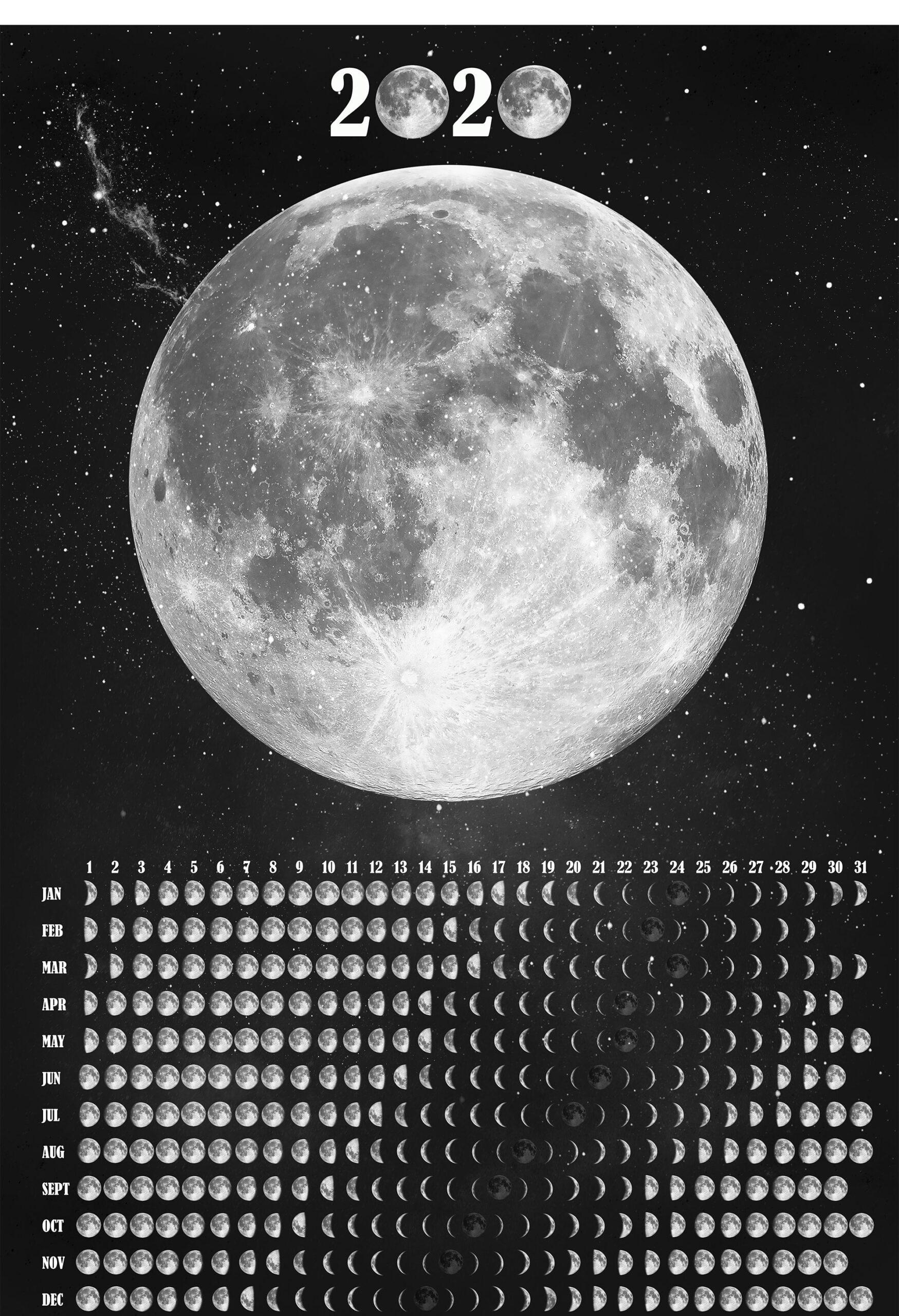 Moon Phases Wall Calendar 2021 Lunar Calendar Moon Phase with Full Moon Calendar 2021 Printable