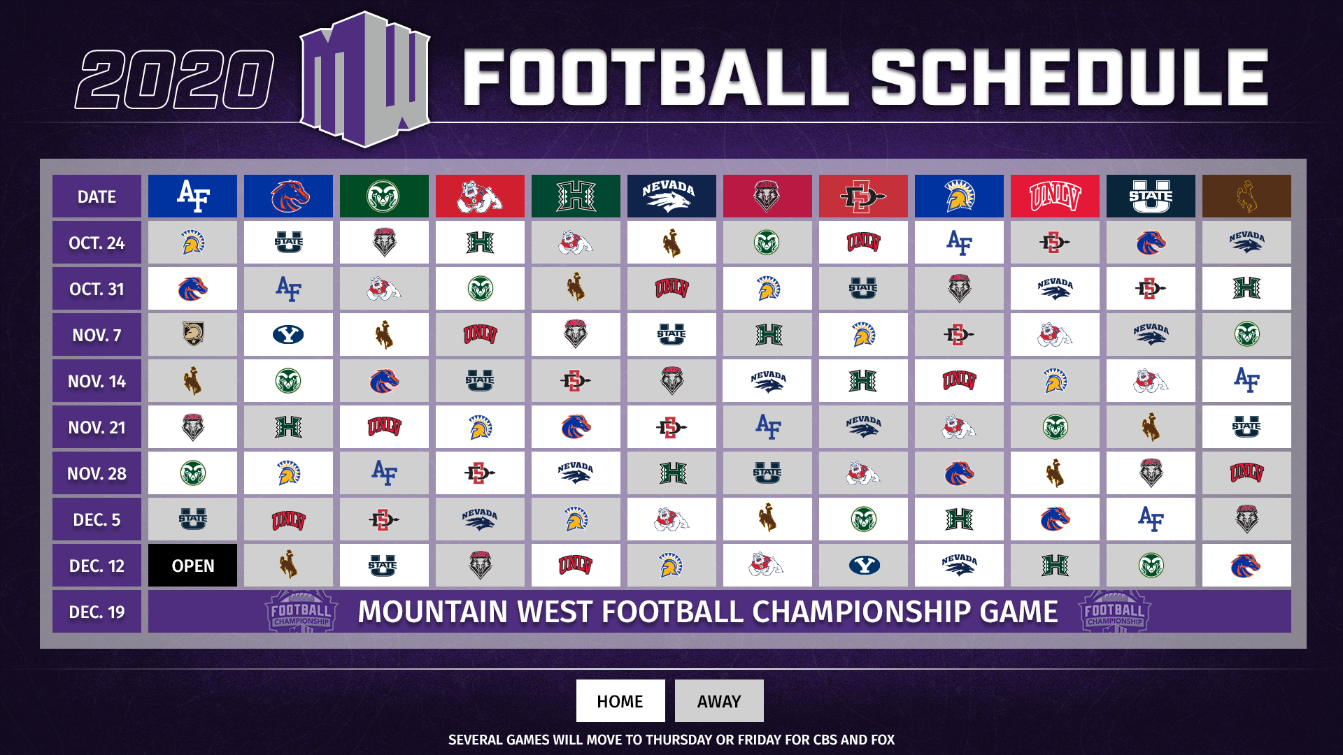 Mountain West Announces 2020 Football Schedule - Mountain regarding Printable 2021 Nfl Schedule