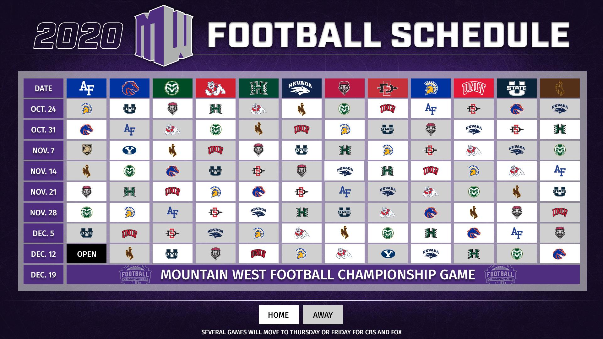 Mountain West Announces 2020 Football Schedule - Mountain regarding Printable 2021 Nfl Schedule