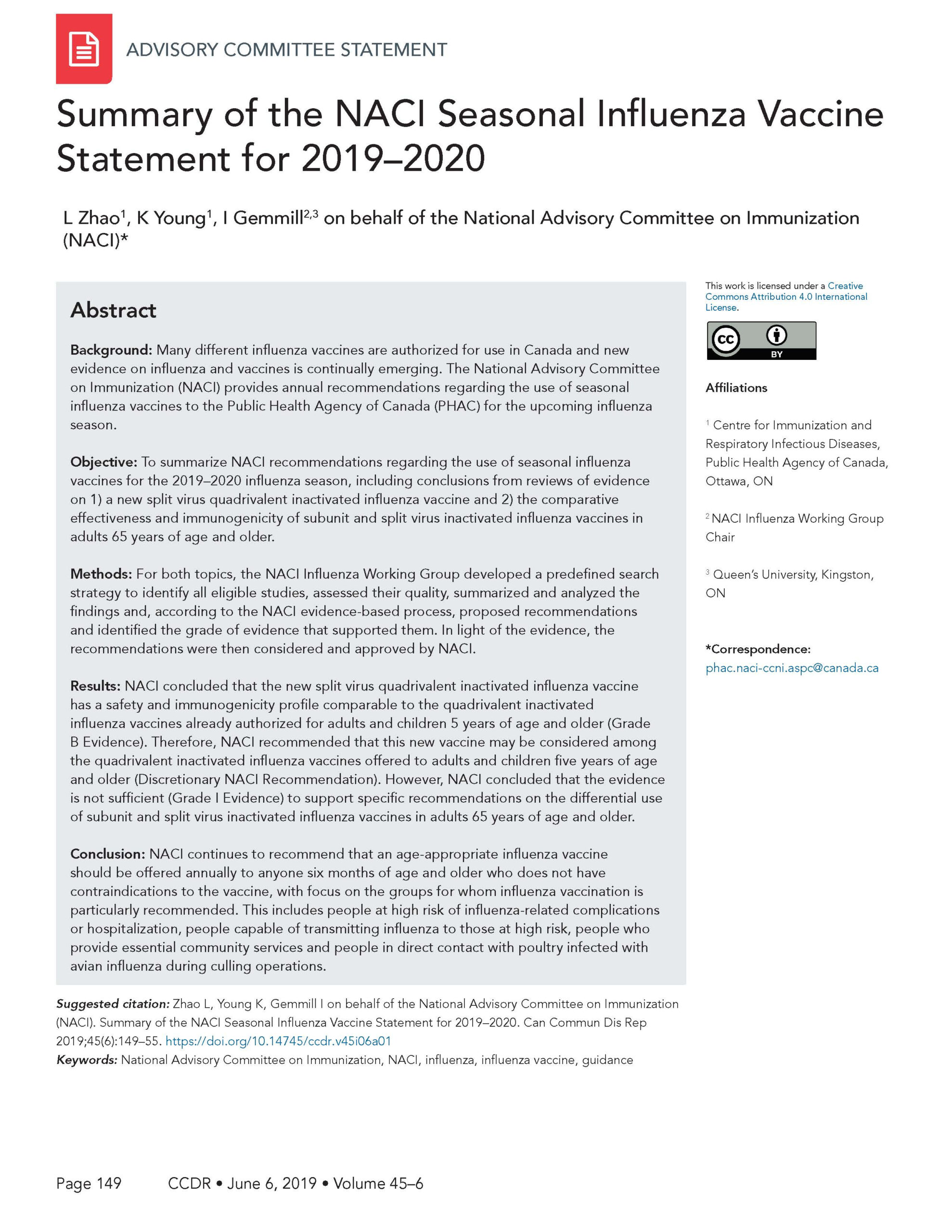 Naci Seasonal Influenza Vaccine Statement For 2019–2020 in Mcgeers Criteria 2021 Checklist