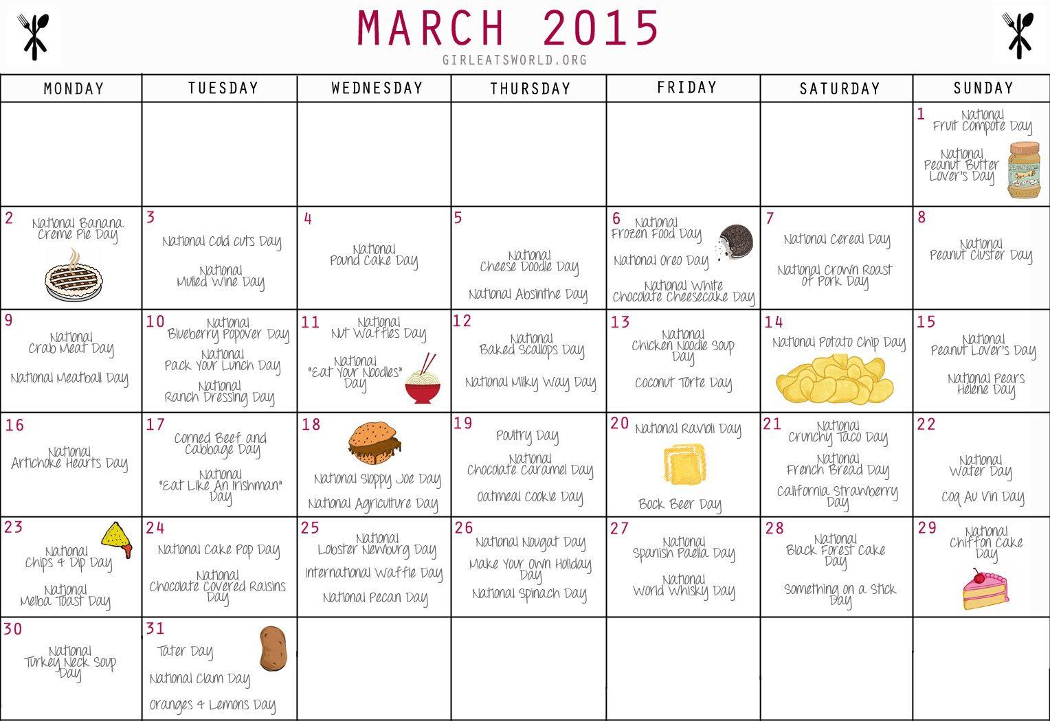 National Food Day Calendar Printable Printable Calendar 2018 within Printable National Day Calendar 2021