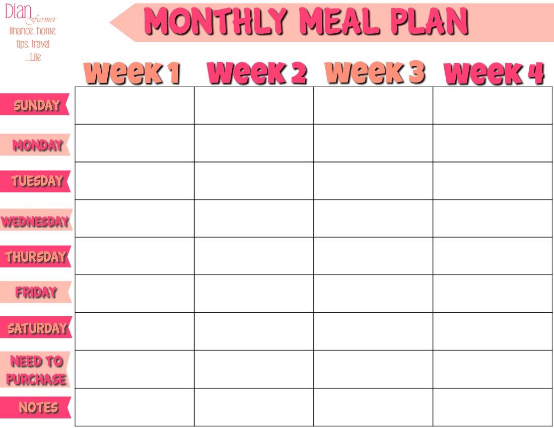 Netmums 4 Week Meal Planner Template Ultimate Choice within Free Printable Monthly Menu Calendar