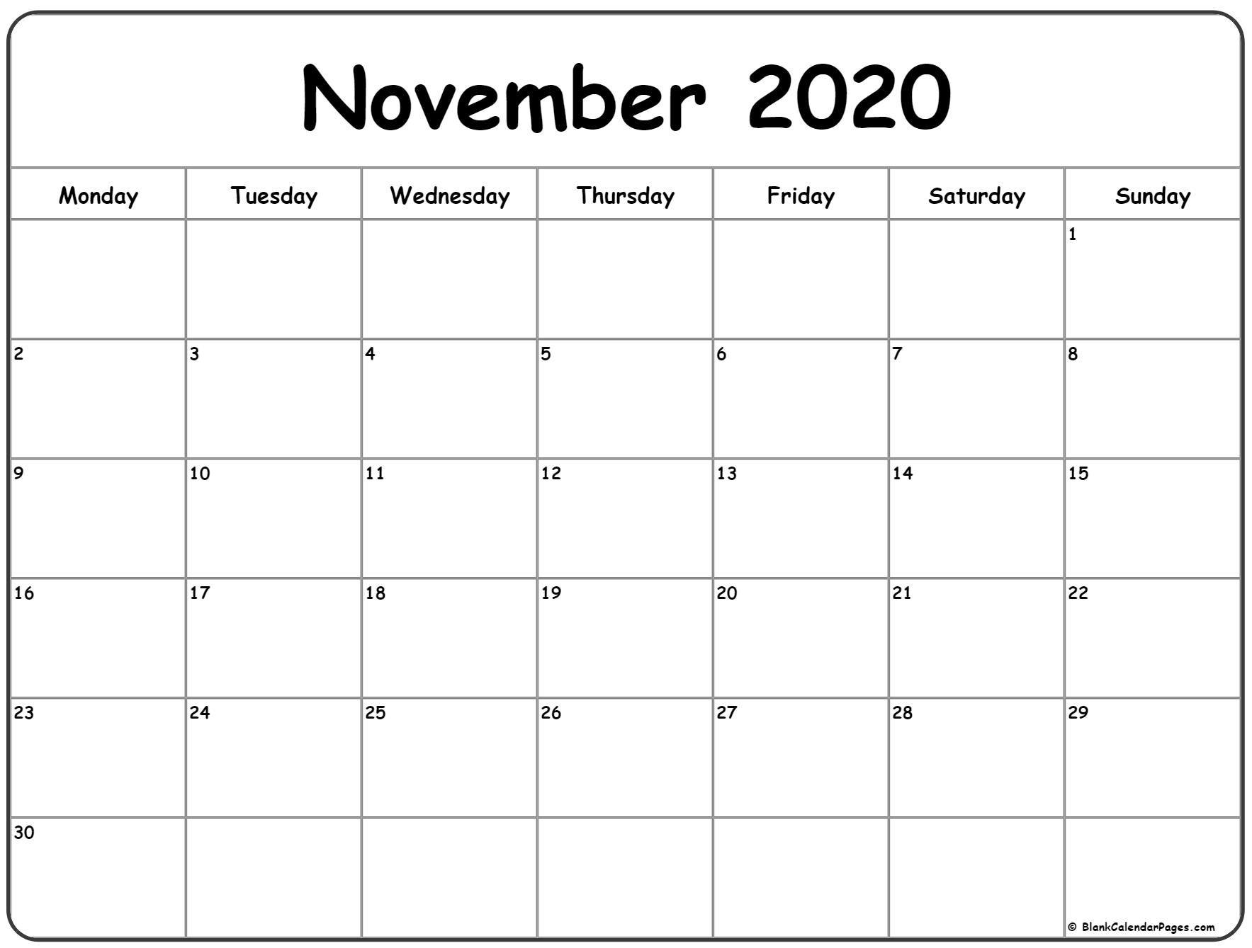 November 2020 Monday Calendar   Monday To Sunday In 2020 throughout Monday Through Sunday