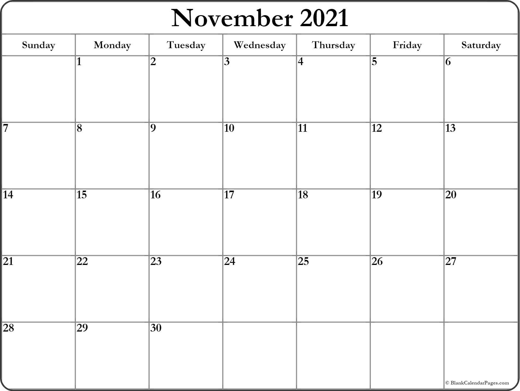 November 2021 Calendar   Free Printable Monthly Calendars regarding Calendar 2021 November Fill In