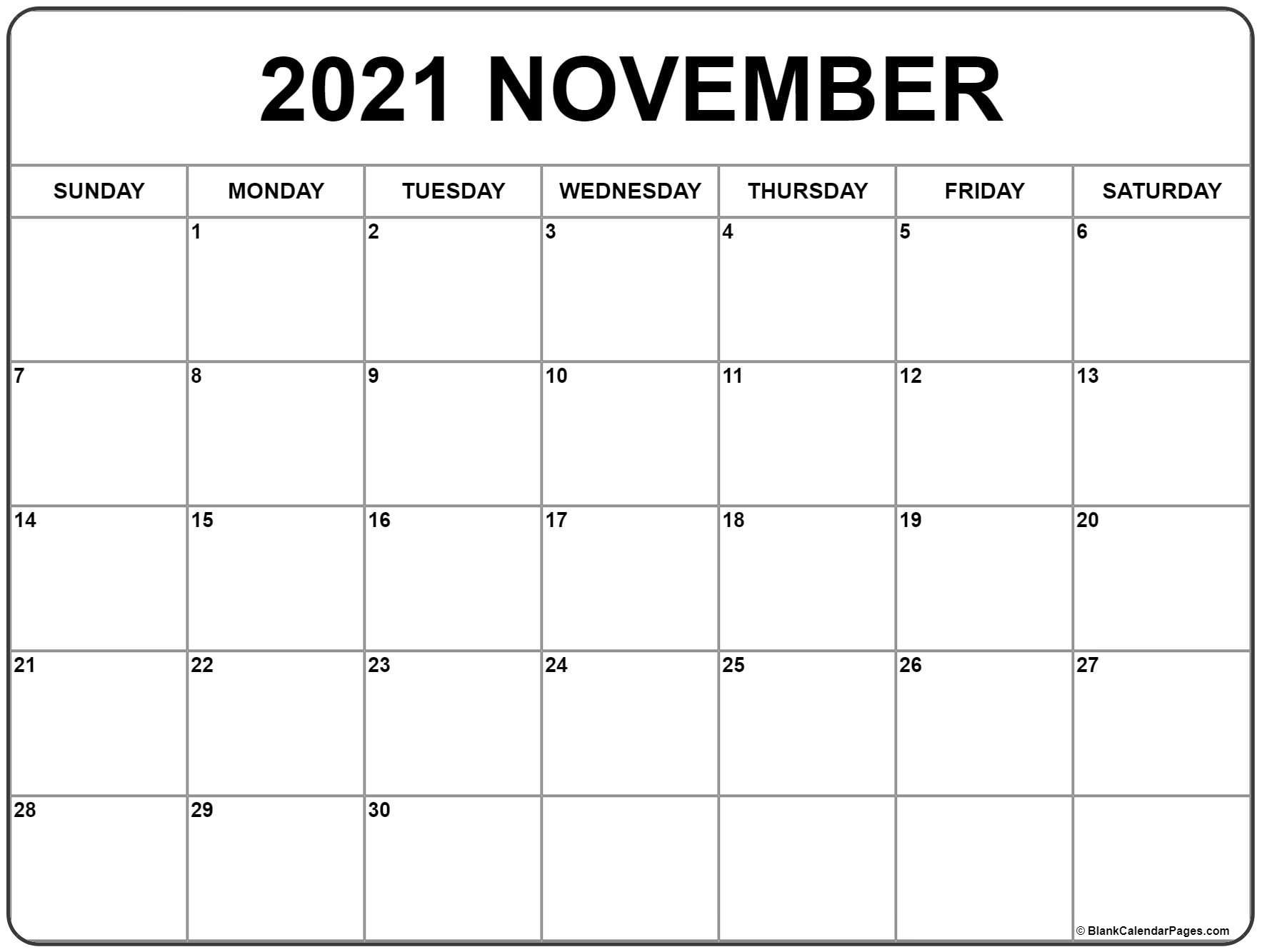 November 2021 Calendar | Free Printable Monthly Calendars throughout September 2021 Calendar Printable