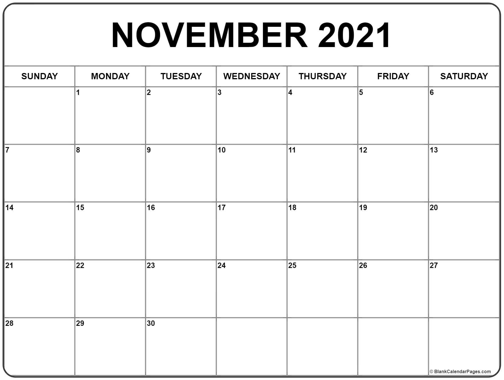 November 2021 Calendar   Free Printable Monthly Calendars with Calendar 2021 November Fill In