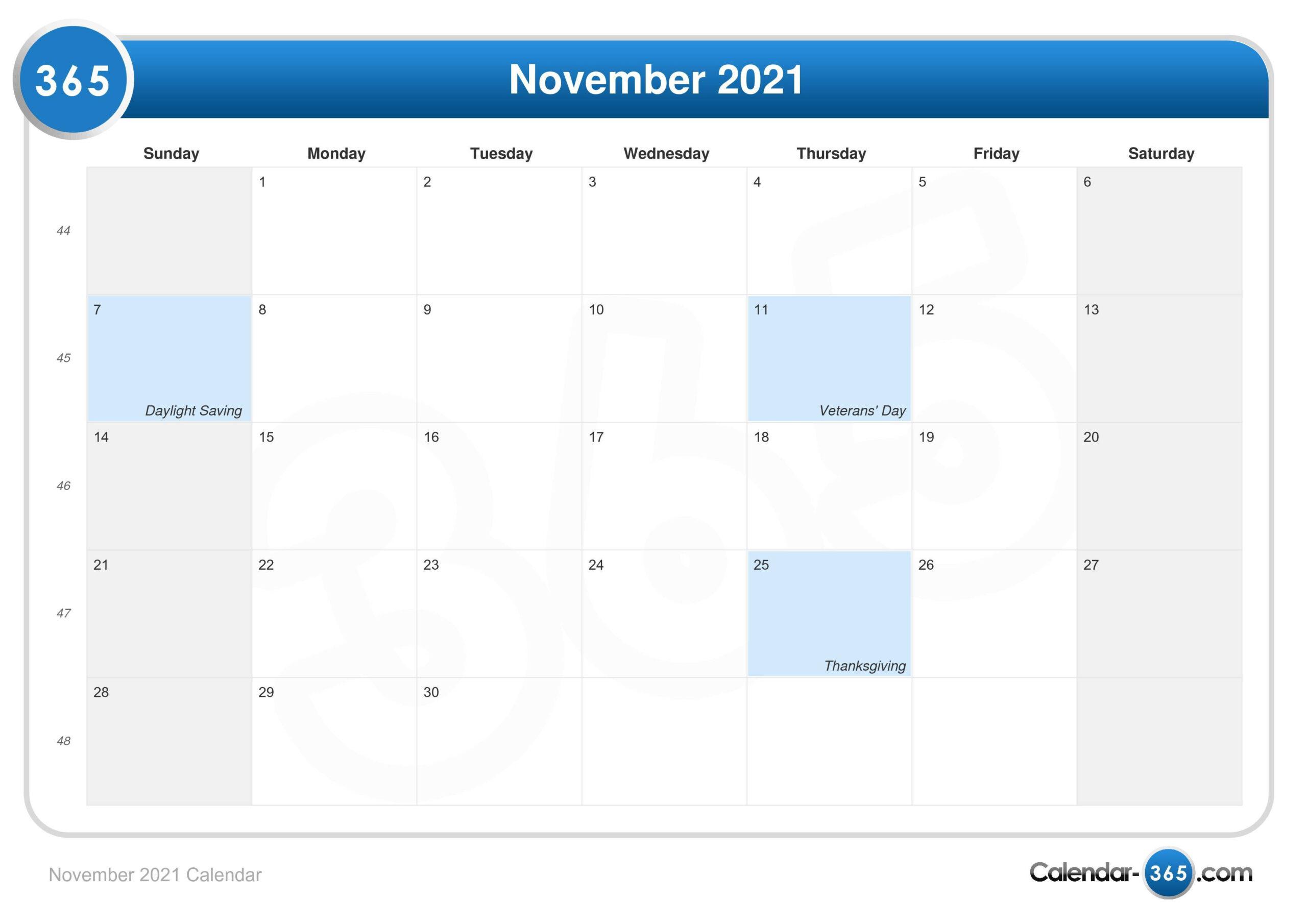 November 2021 Calendar intended for Calendar 2021 November Fill In